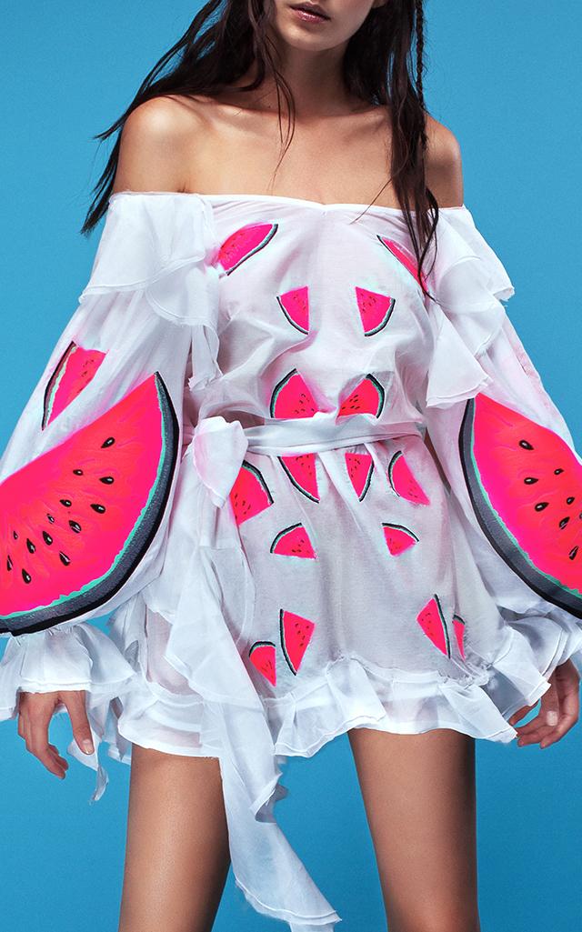 Yuliya Magdych Batiste Watermelon Mini Dress $1,235 ($617.50 Deposit)