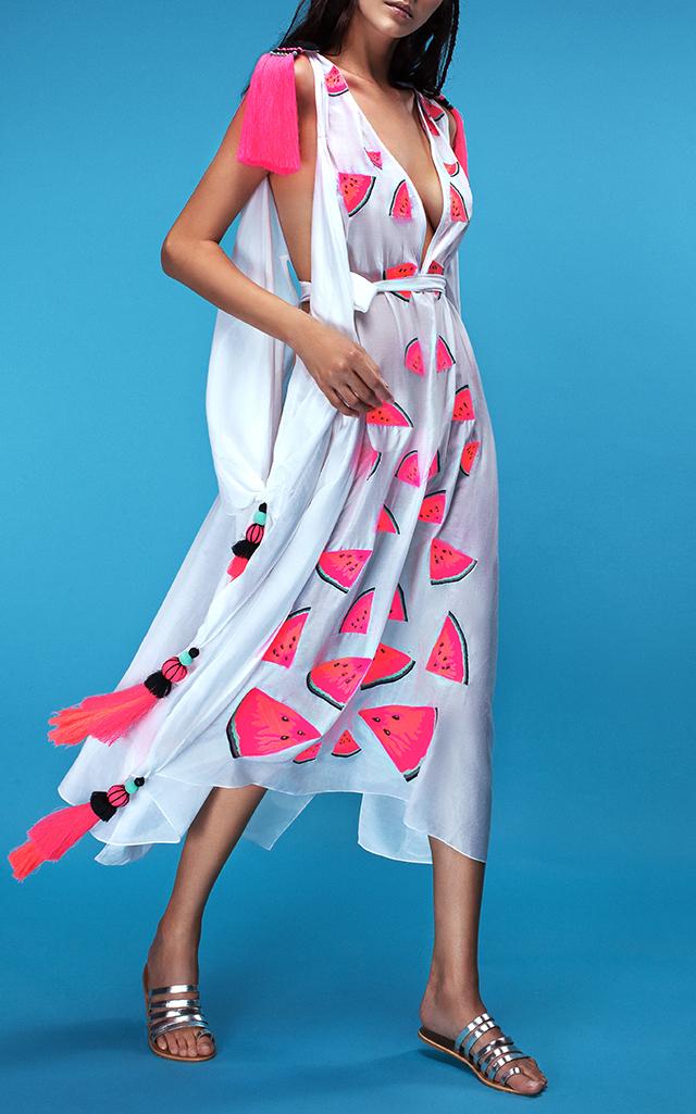 Yuliya Magdych Batiste Midi Watermelon Dress $1,235 ($617.50 Deposit)