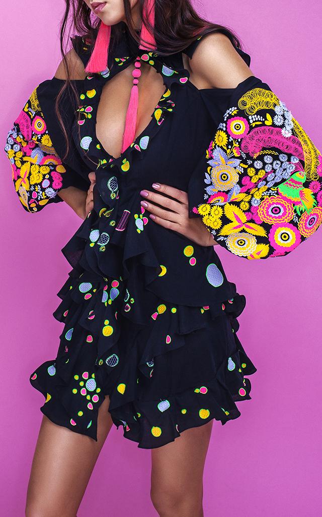 Yuliya Magdych Petrikivka Mini Ruffle Dress $1,410 ($705 Deposit)