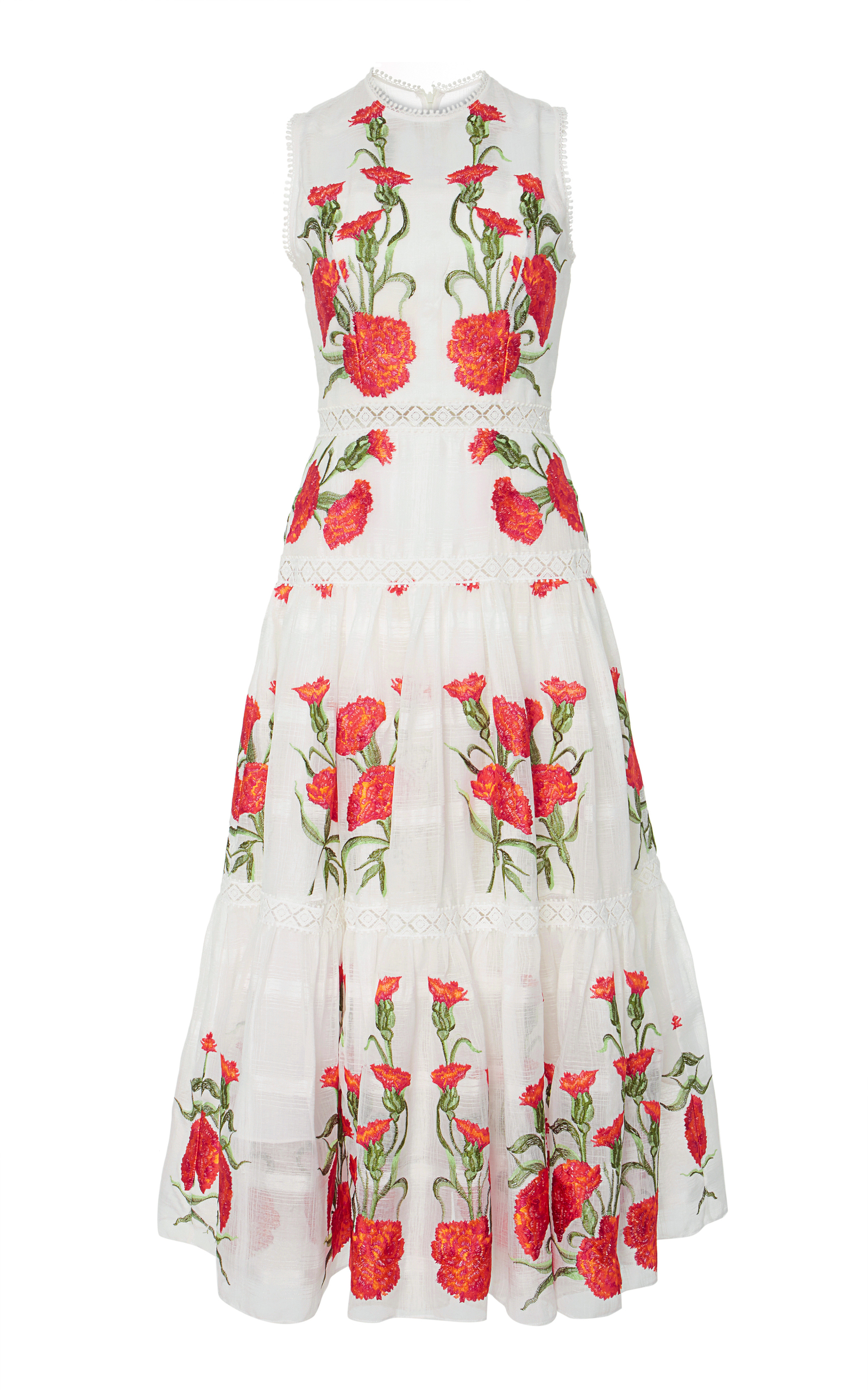 0faf13d28dec23 ALEXIS LEOMIE SLEEVELESS FLORAL-EMBROIDERED DRESS