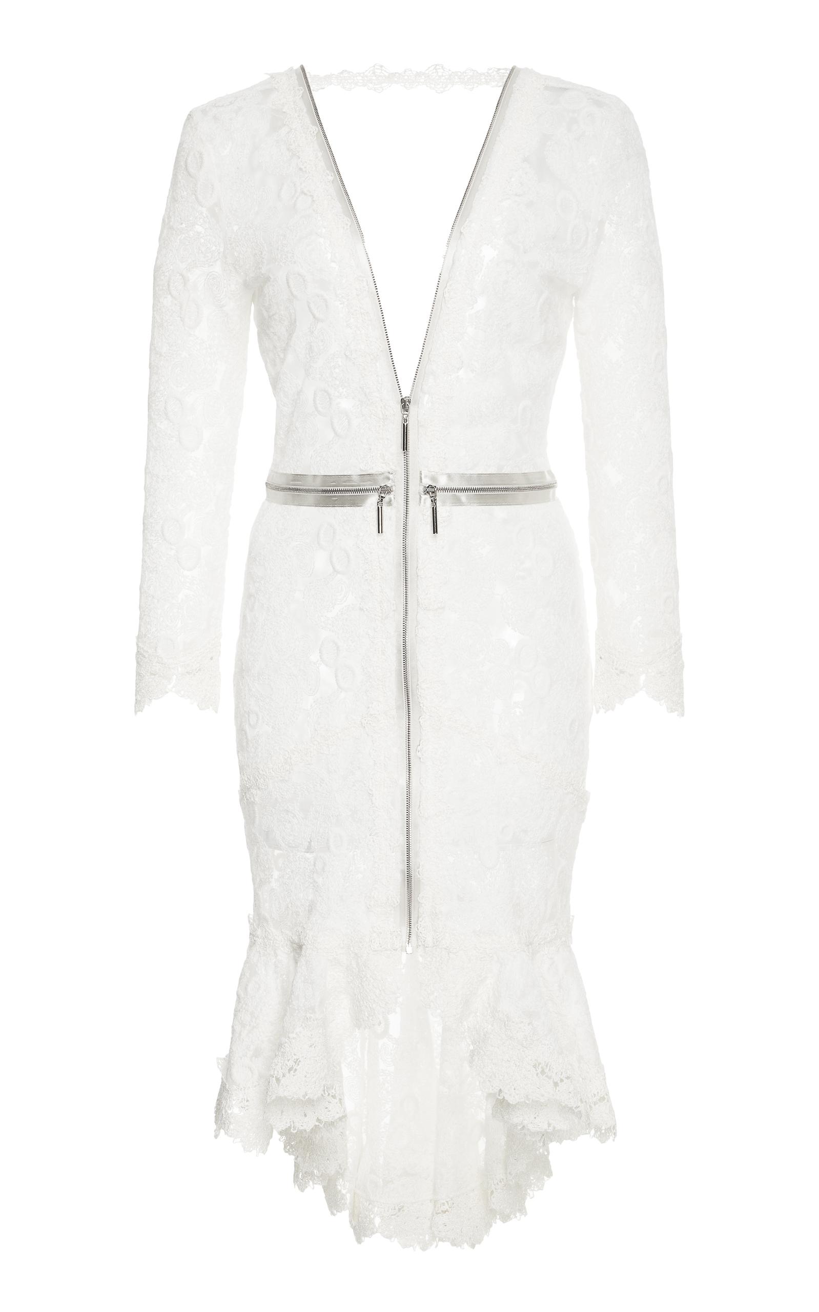 Parissa Lace Zip-Front High-Low Dress, White