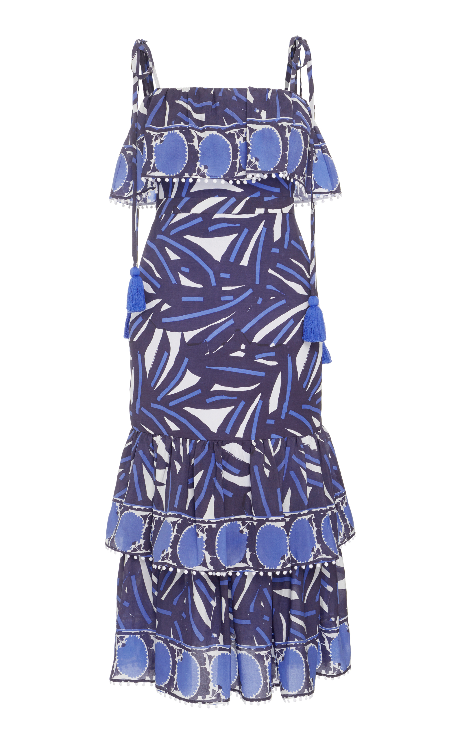 Faretta Square-Neck Mixed-Print Cotton Midi Dress, Blue