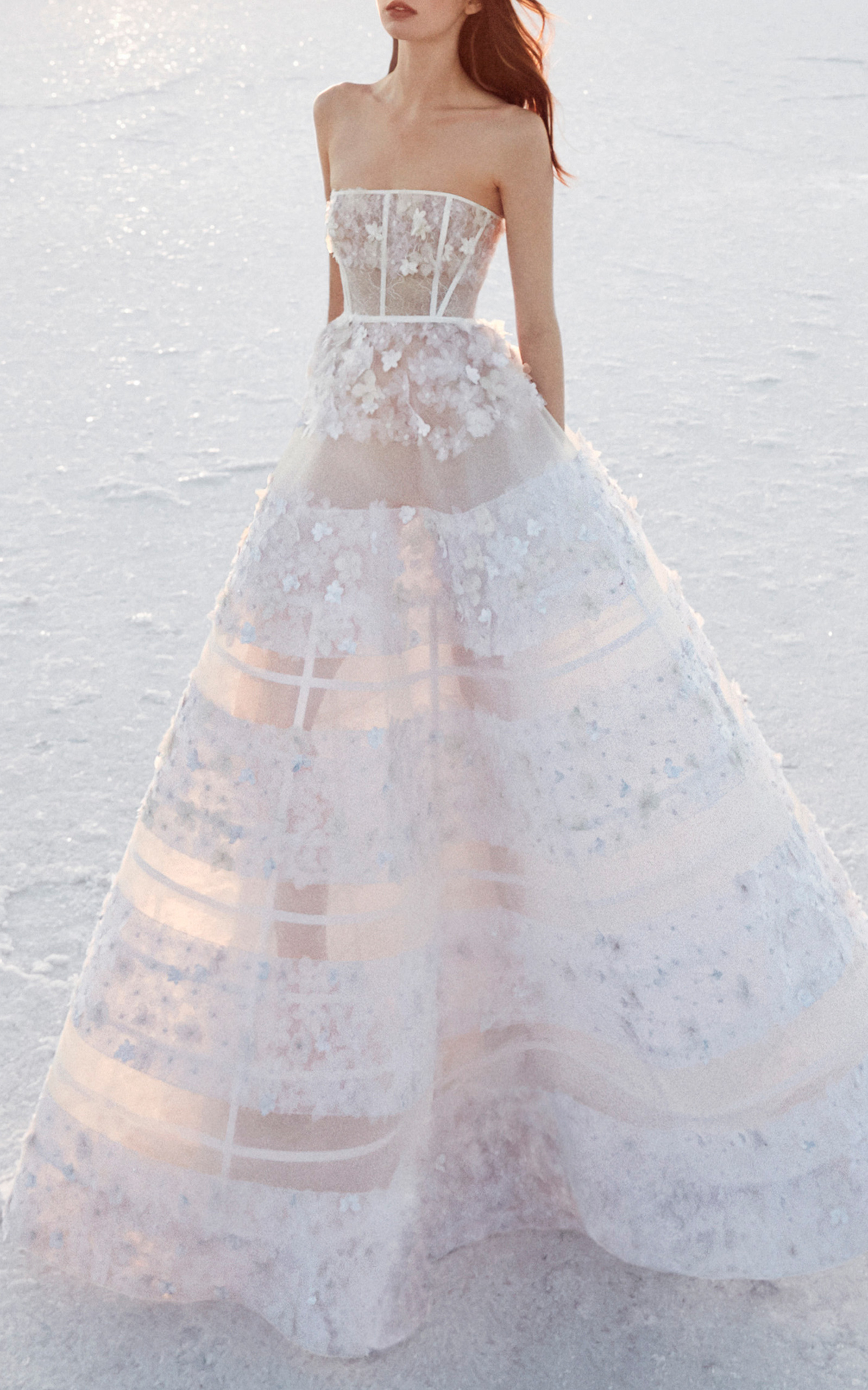 ALEX PERRY BRIDE Harper Sheer Embellished Gown, White | ModeSens
