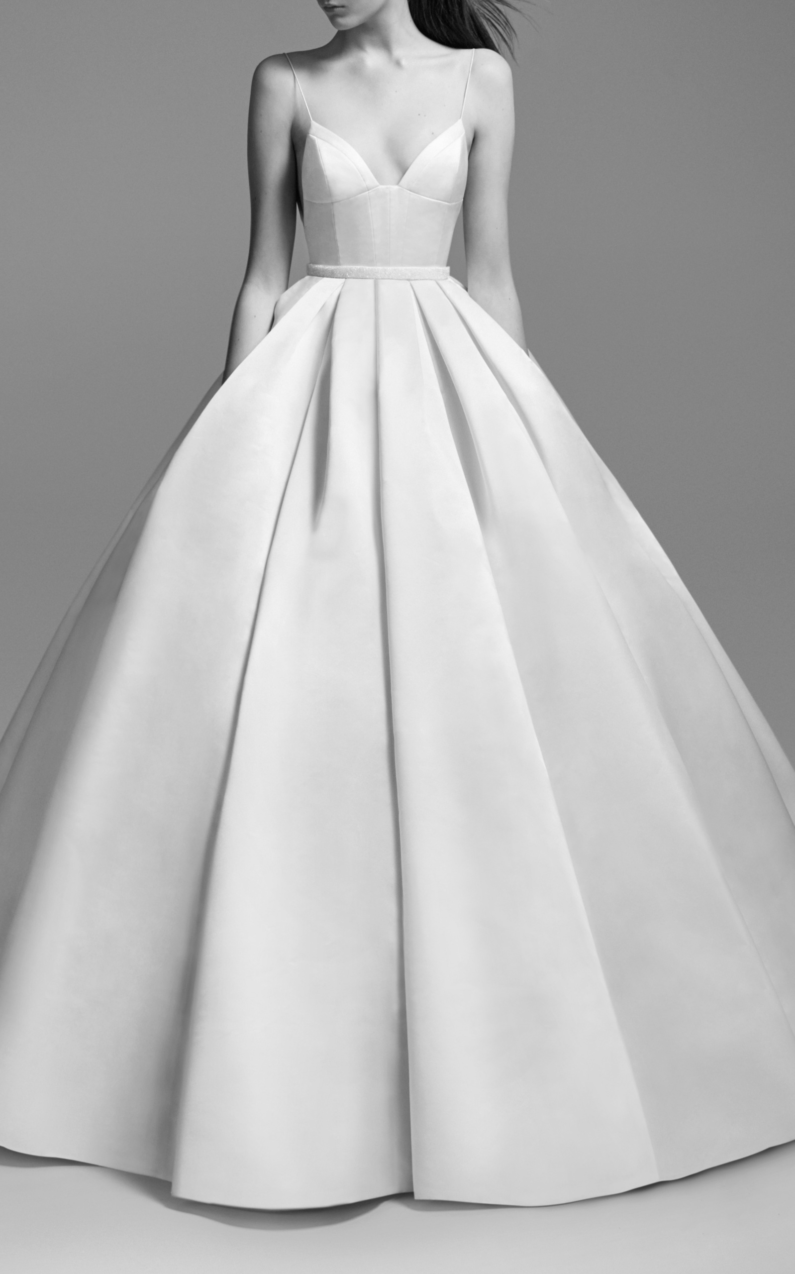 ALEX PERRY BRIDE Suzy Satin Embellished Gown in White