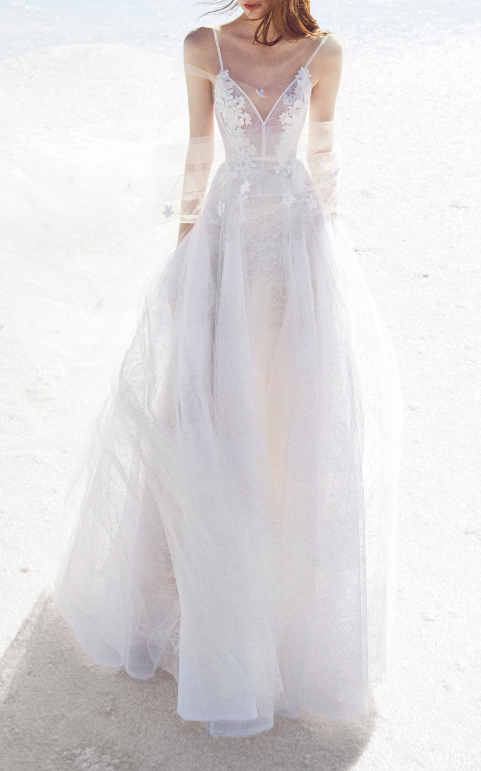 ALEX PERRY BRIDE Anna Lace Floral Embellished Gown in White