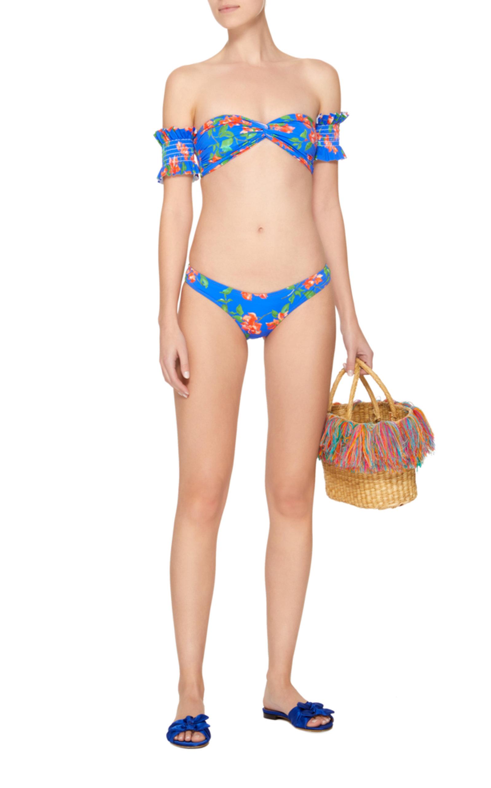 Adros Off Shoulder Floral Bandeau Bikini Top Caroline Constas Buy Cheap Find Great PJ4pz1