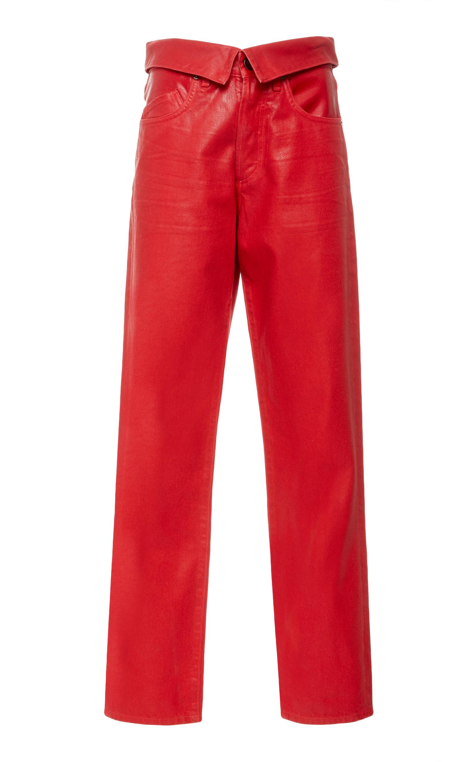 JEAN ATELIER Coated Denim Flip Waist Pant in Rouge