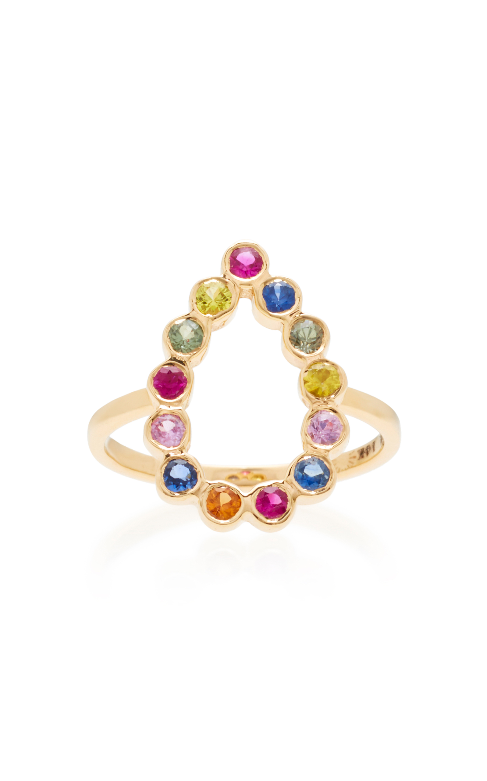 SHE BEE OPEN PEAR 14K GOLD SAPPHIRE RING