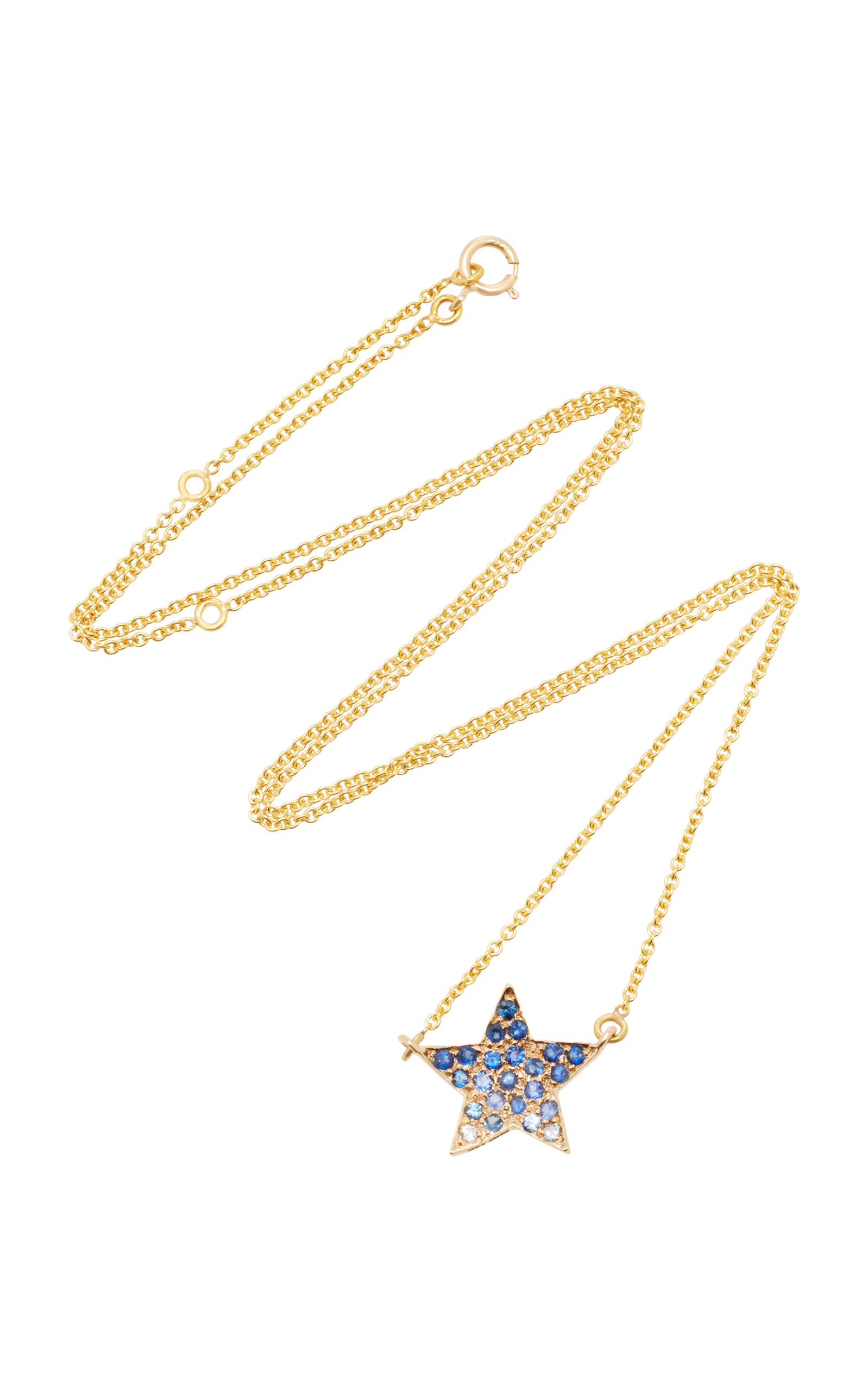 SHE BEE 14K YELLOW GOLD AND SAPPHIRE STAR PENDANT NECKLACE