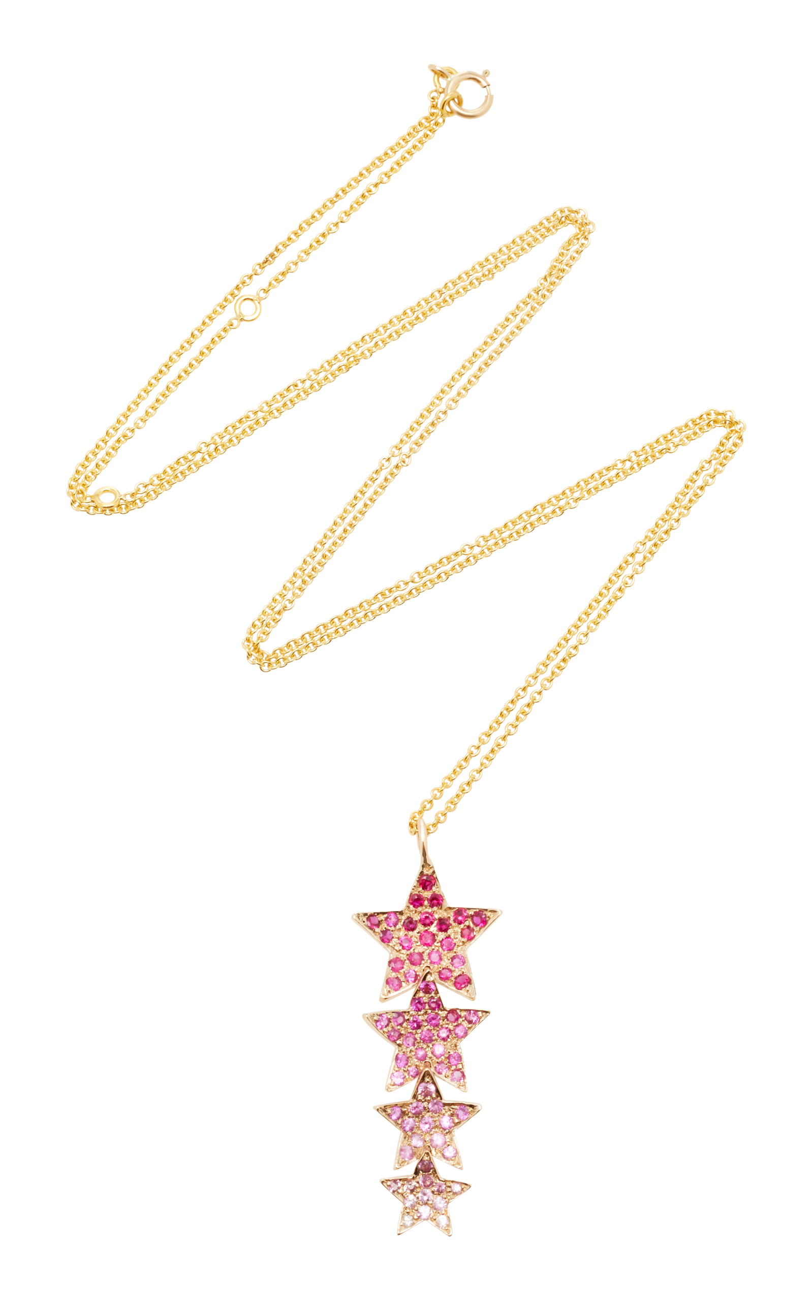 SHE BEE 14K YELLOW GOLD AND SAPPHIRE STAR DROP PENDANT