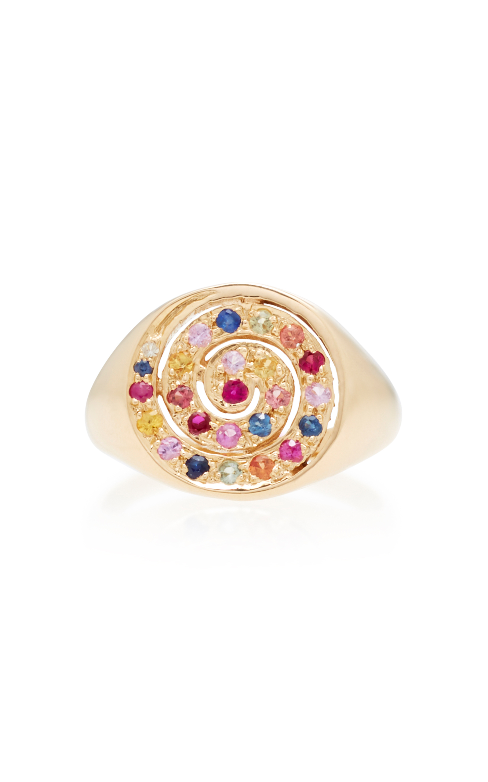 SHE BEE 14K YELLOW GOLD AND SAPPHIRE SPIRAL RING