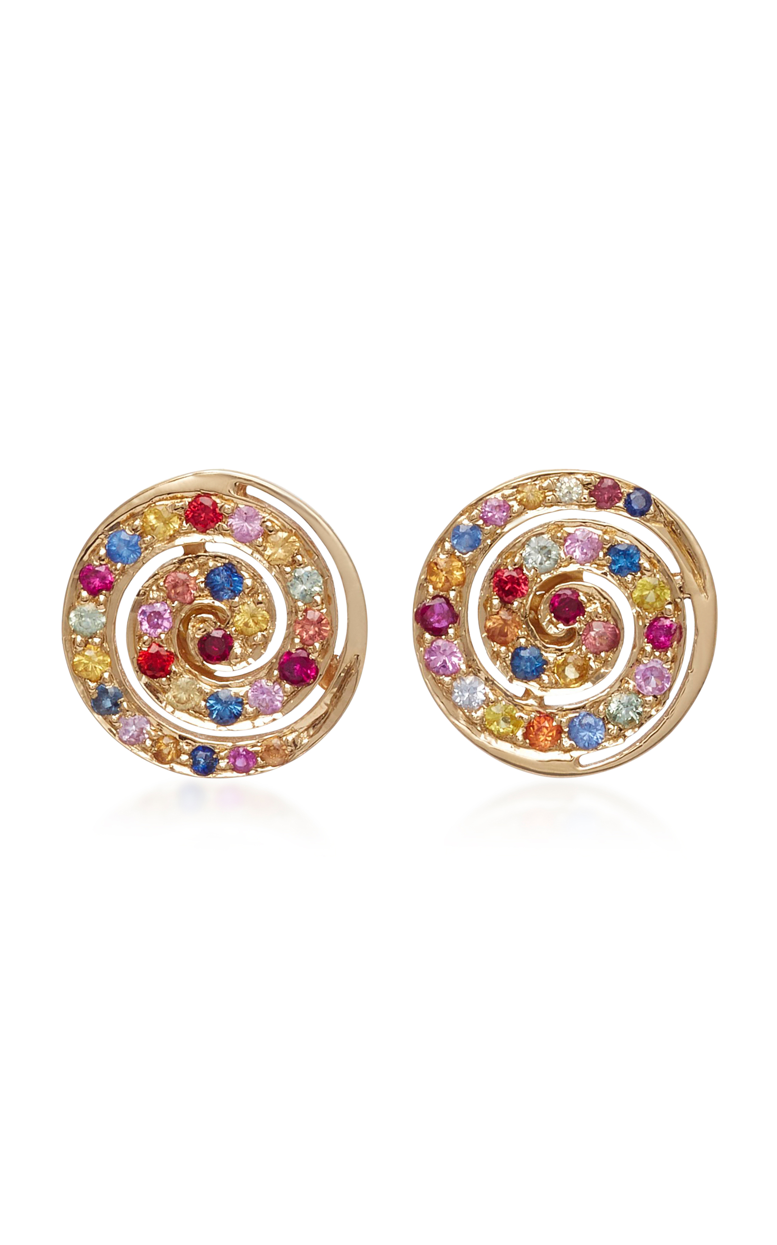 SHE BEE 14K YELLOW GOLD AND SAPPHIRE BUTTON STUDS