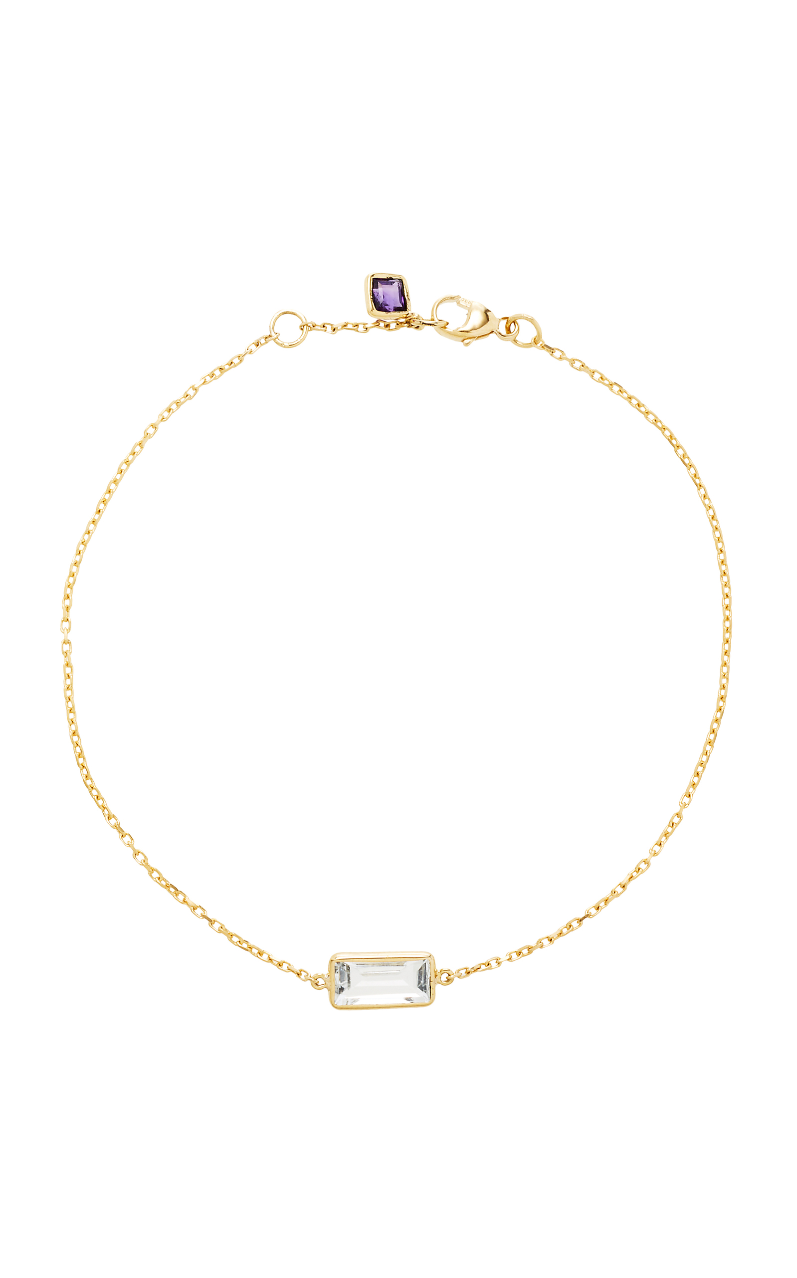 YI COLLECTION 18K GOLD WHITE TOPAZ AND AMETHYST BRACELET