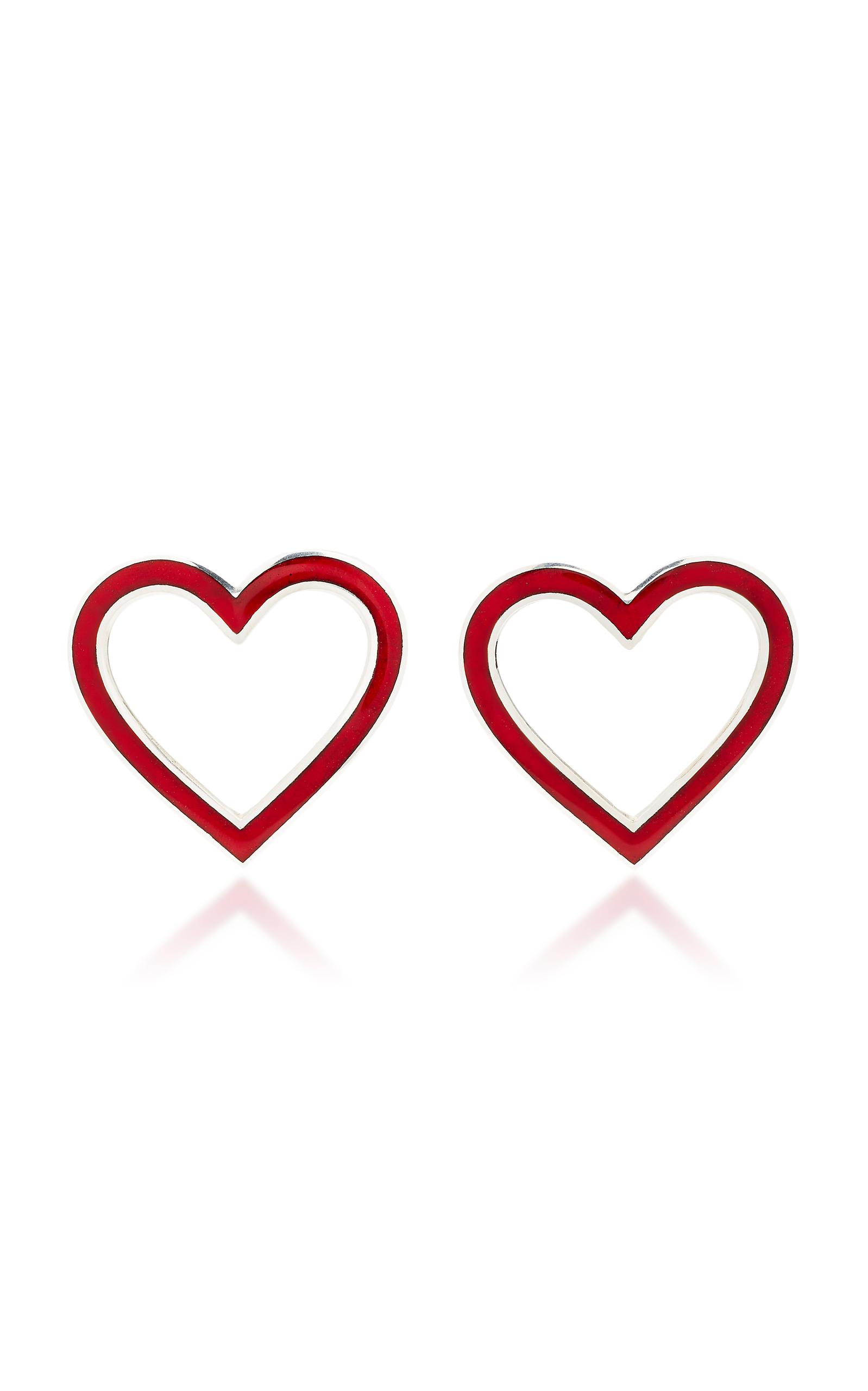 SILHOUETTE SILVER-TONE ENAMEL HEART EARRINGS