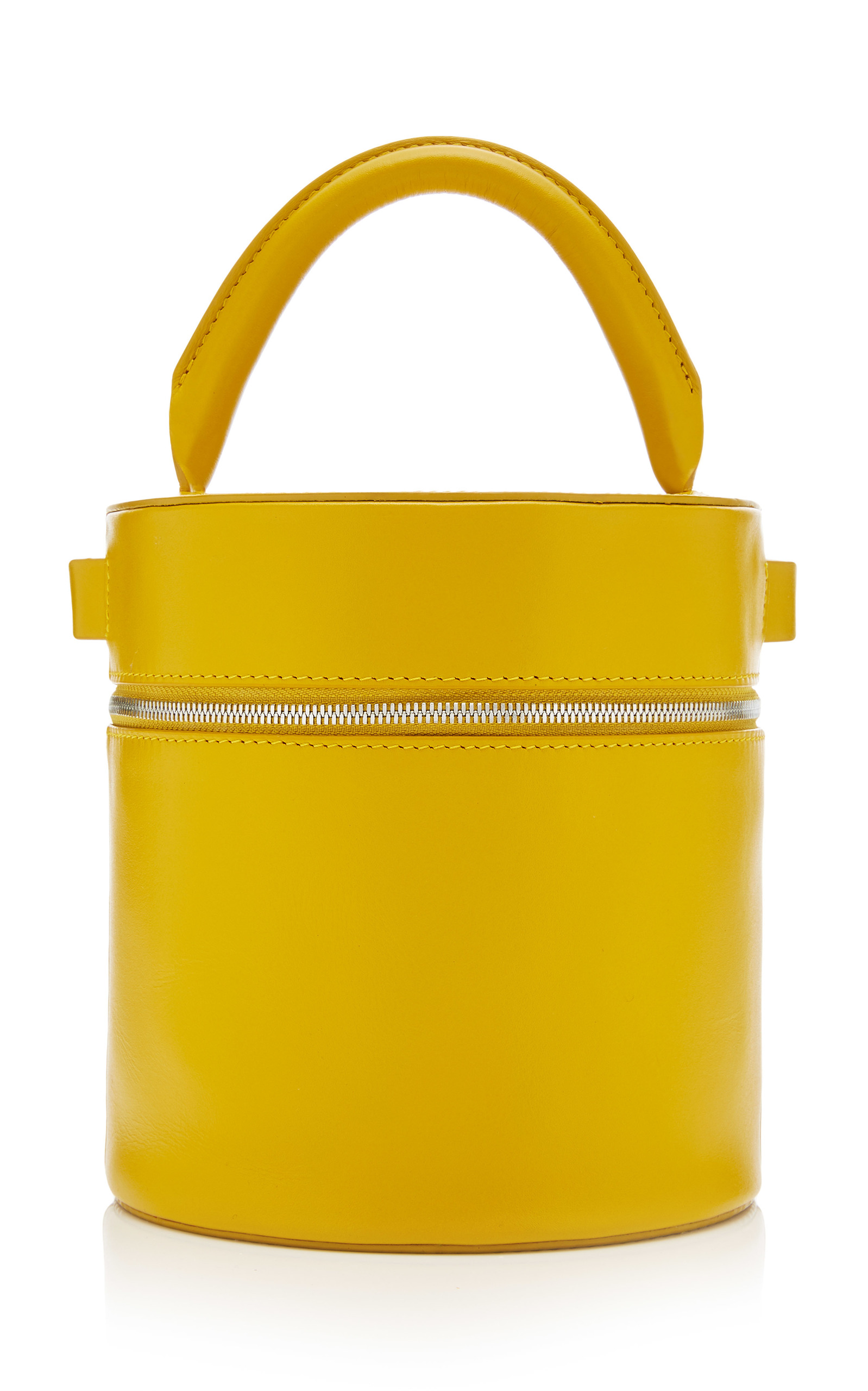 Building Block Leather Drum Bag In Yellow