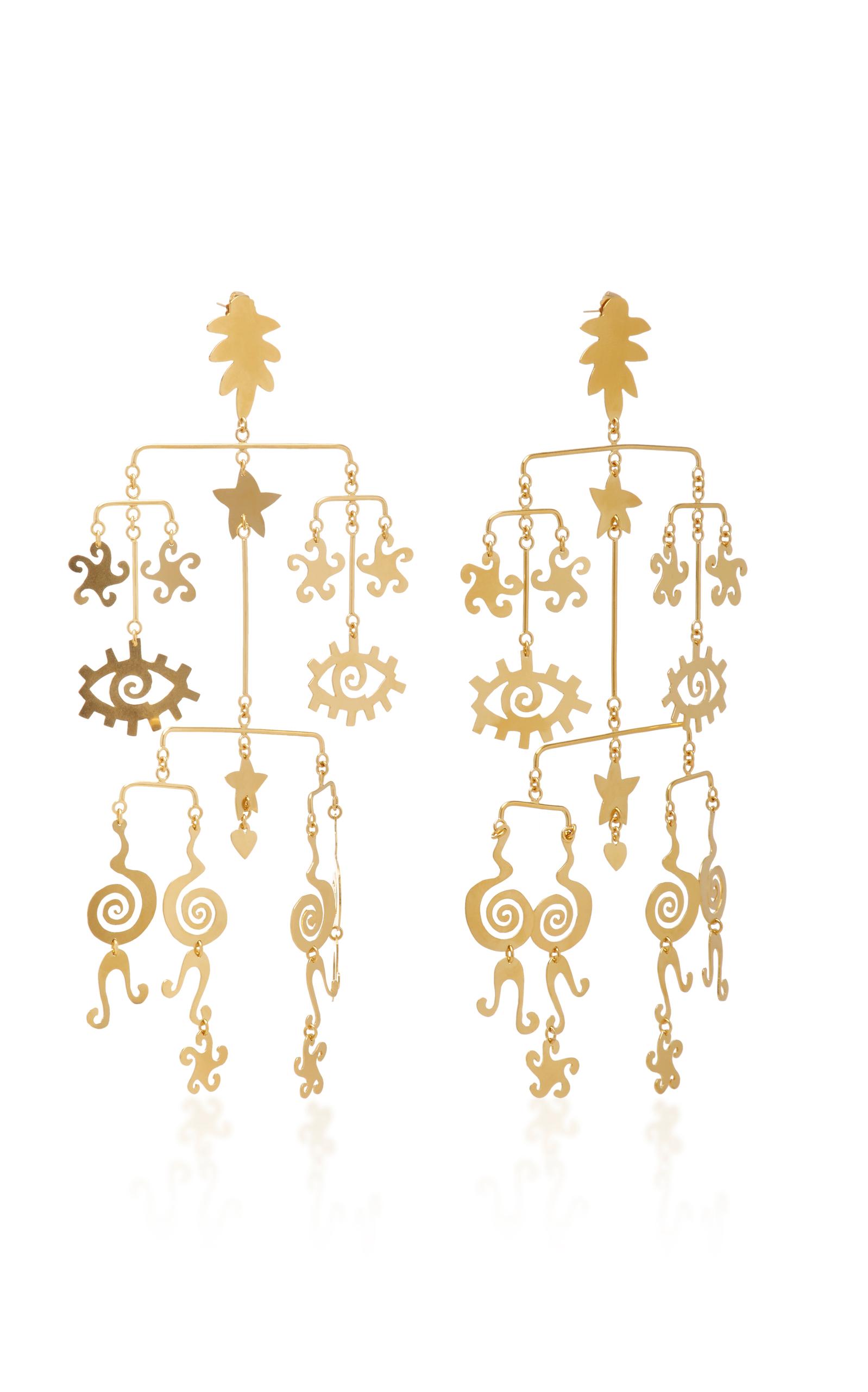 Gold-Plated Brass Mobile Earrings Kalmar icw3L