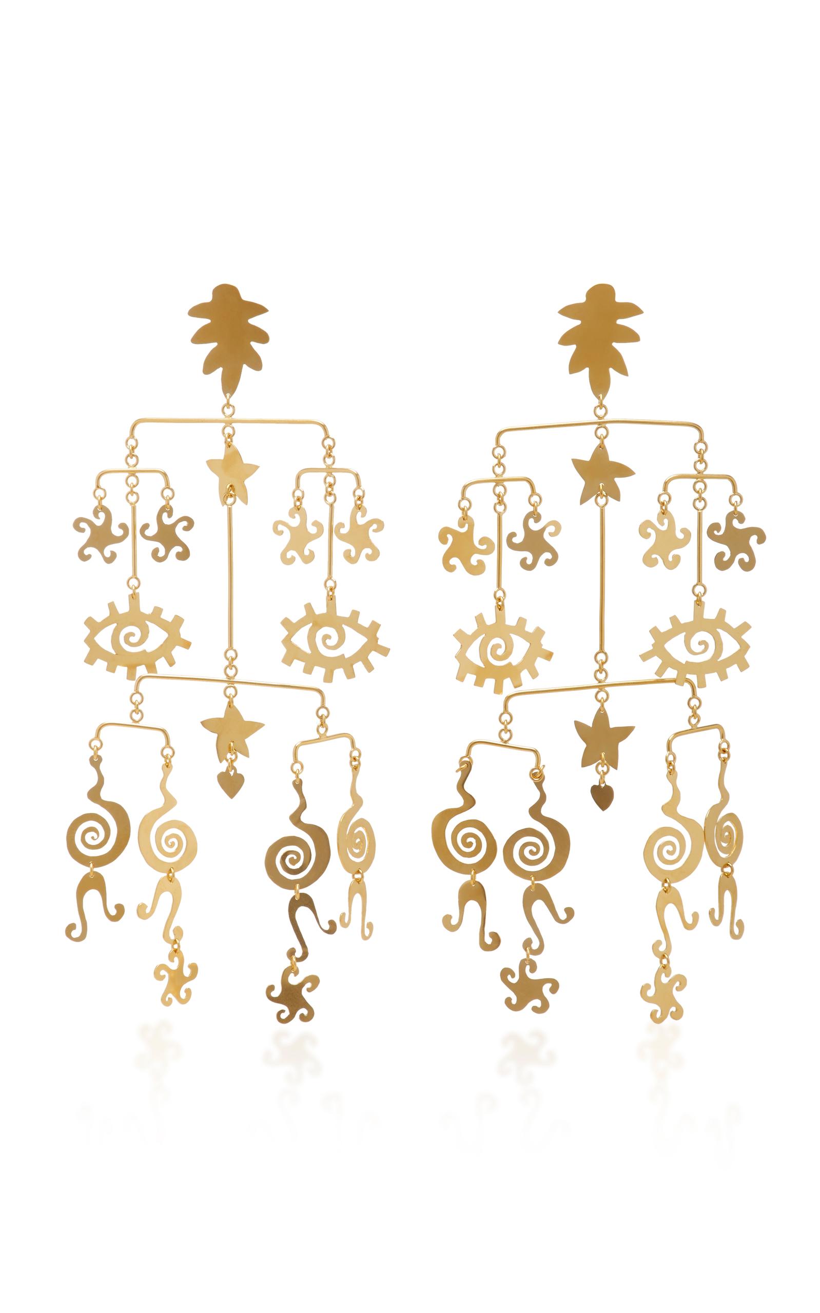 KALMAR GOLD-PLATED BRASS MOBILE EARRINGS