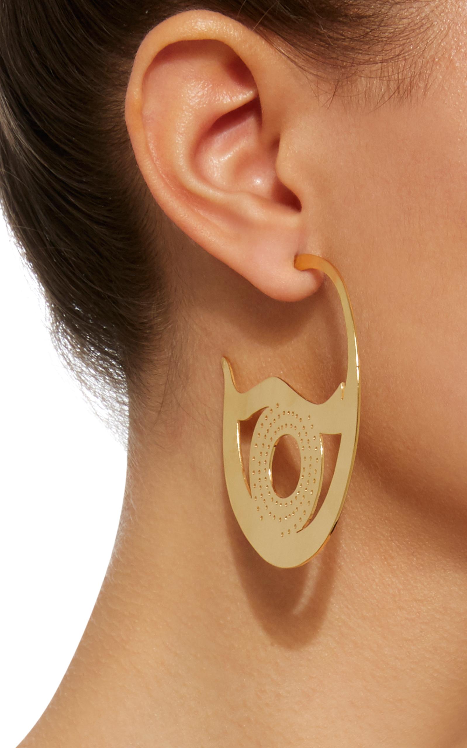 Gold-Plated Brass Bird Eye Earrings Kalmar TK0oNB