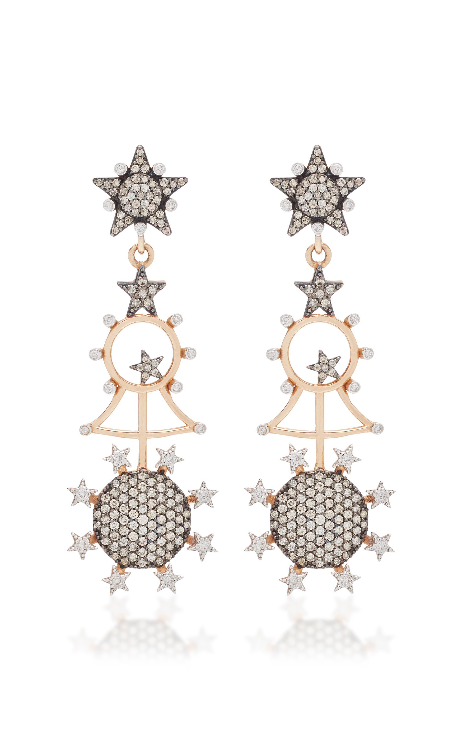 champagne stud charushila gallery jewelry diamond shana earrings lyst gulati gold zivar