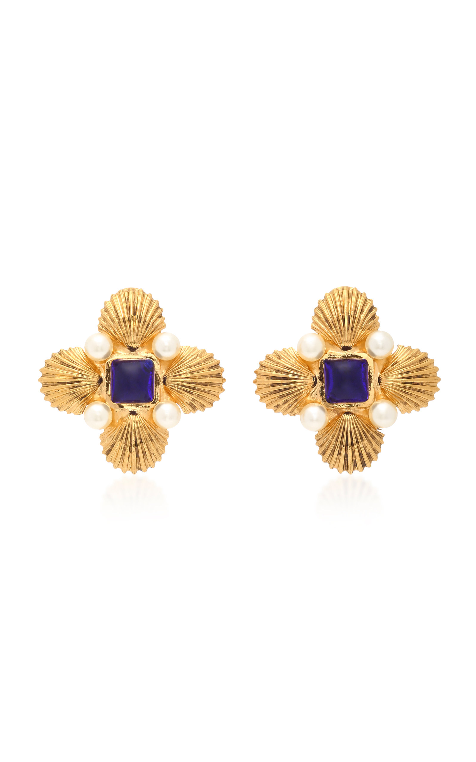 GRIPOIX BYZANTINE SHELL 24K GOLD-PLATED BRASS PEARL AND POURED GLASS CLIP EARRINGS