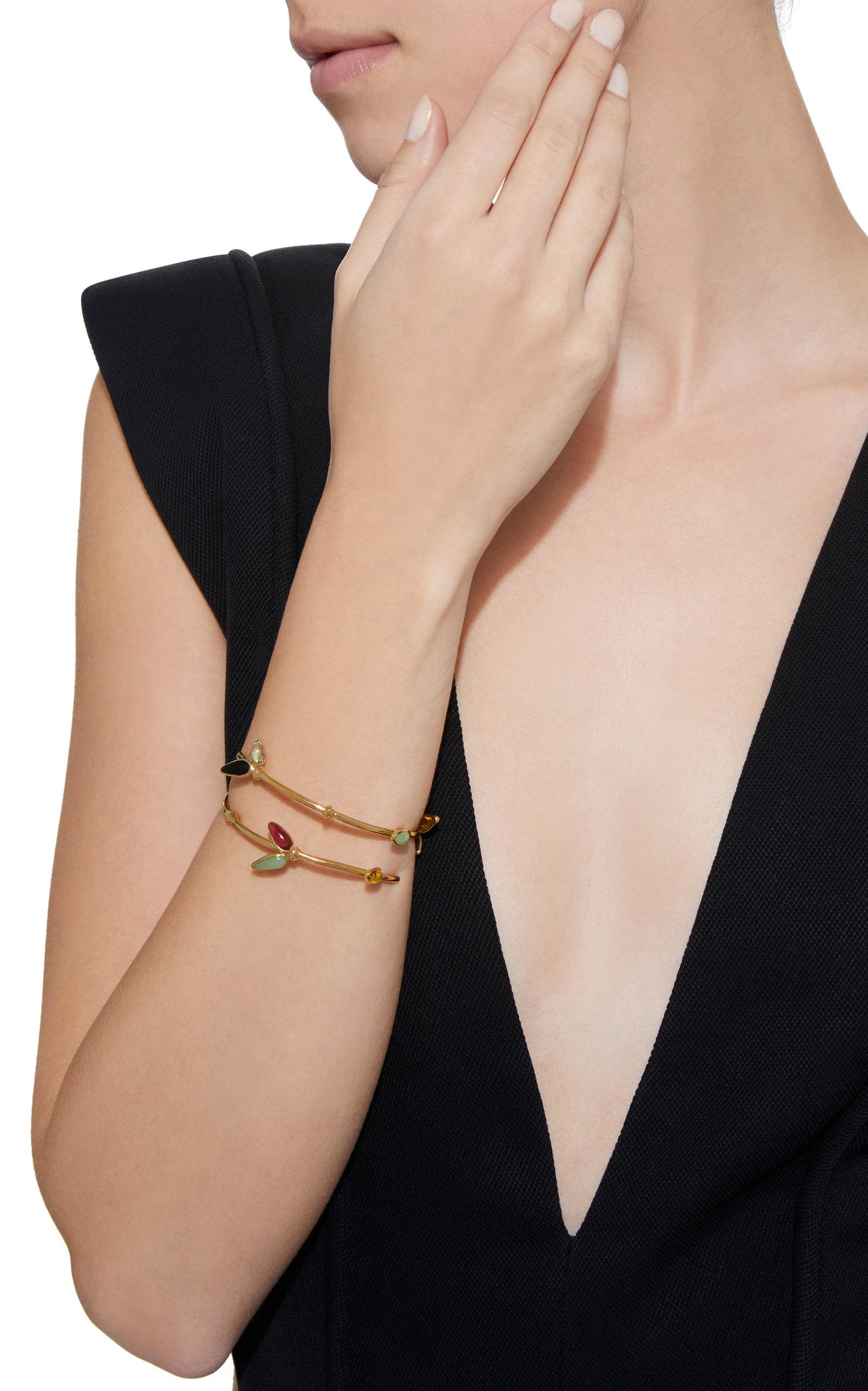Bamboo Adjustable 24K Gold-Plated Brass and Poured Glass Bangle Bracelet Gripoix kgFRJ