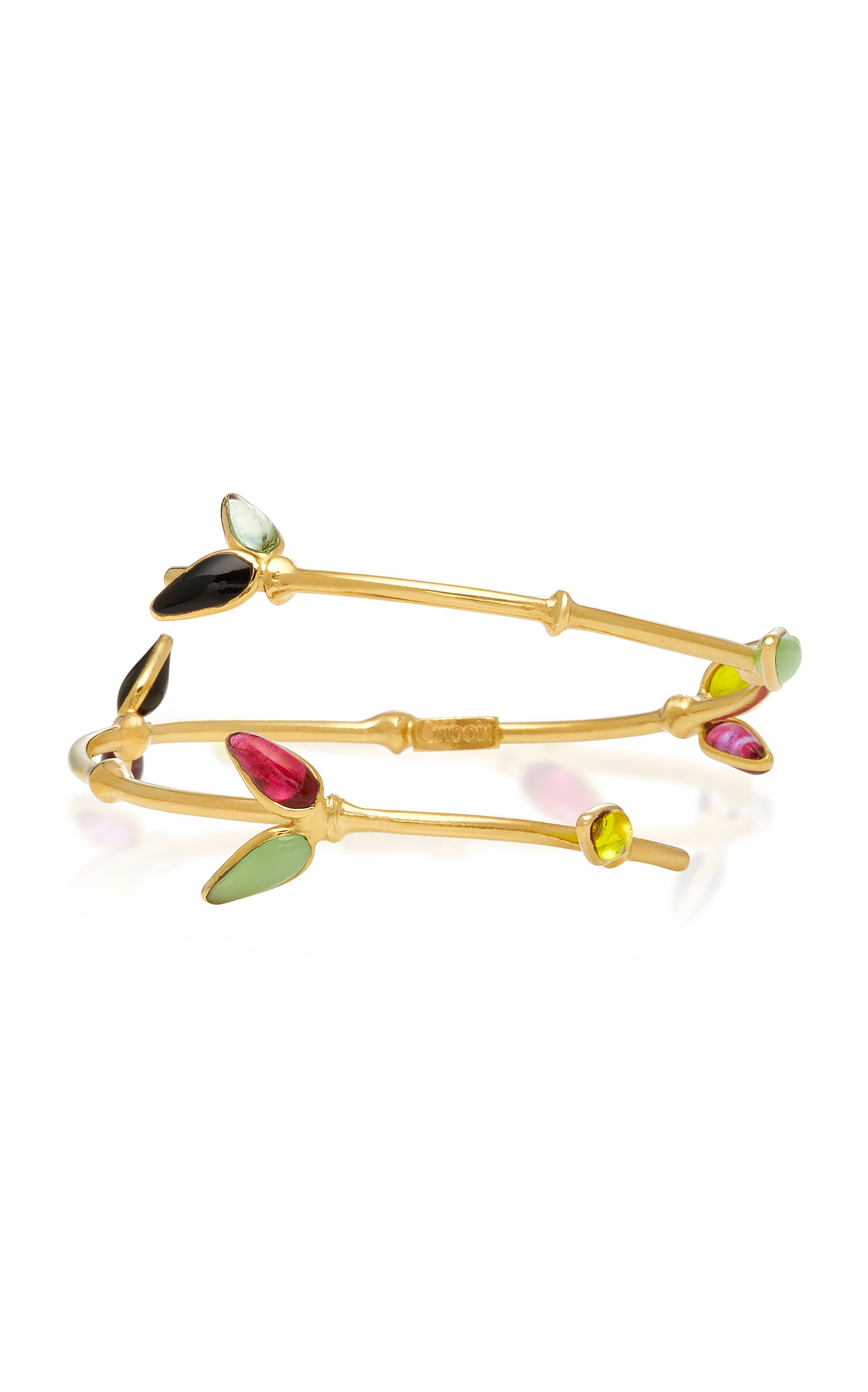 Bamboo Adjustable 24K Gold-Plated Brass and Poured Glass Bangle Bracelet Gripoix Cheap Sale Many Kinds Of Visit Online 8tX8jhU4k