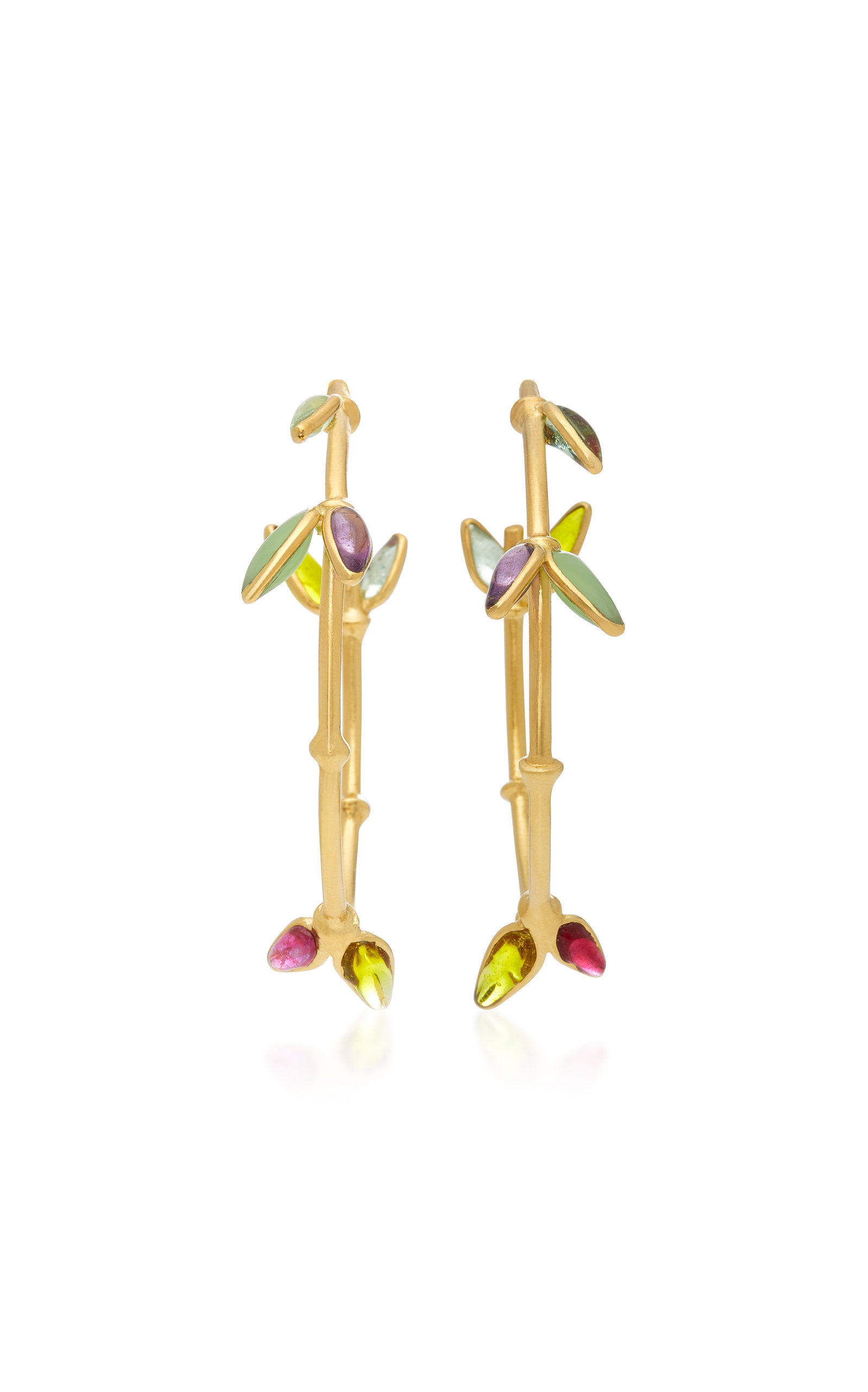 Bamboo Creole 24K Gold-Plated Brass and Poured Glass Pierced Earrings Gripoix q35KH