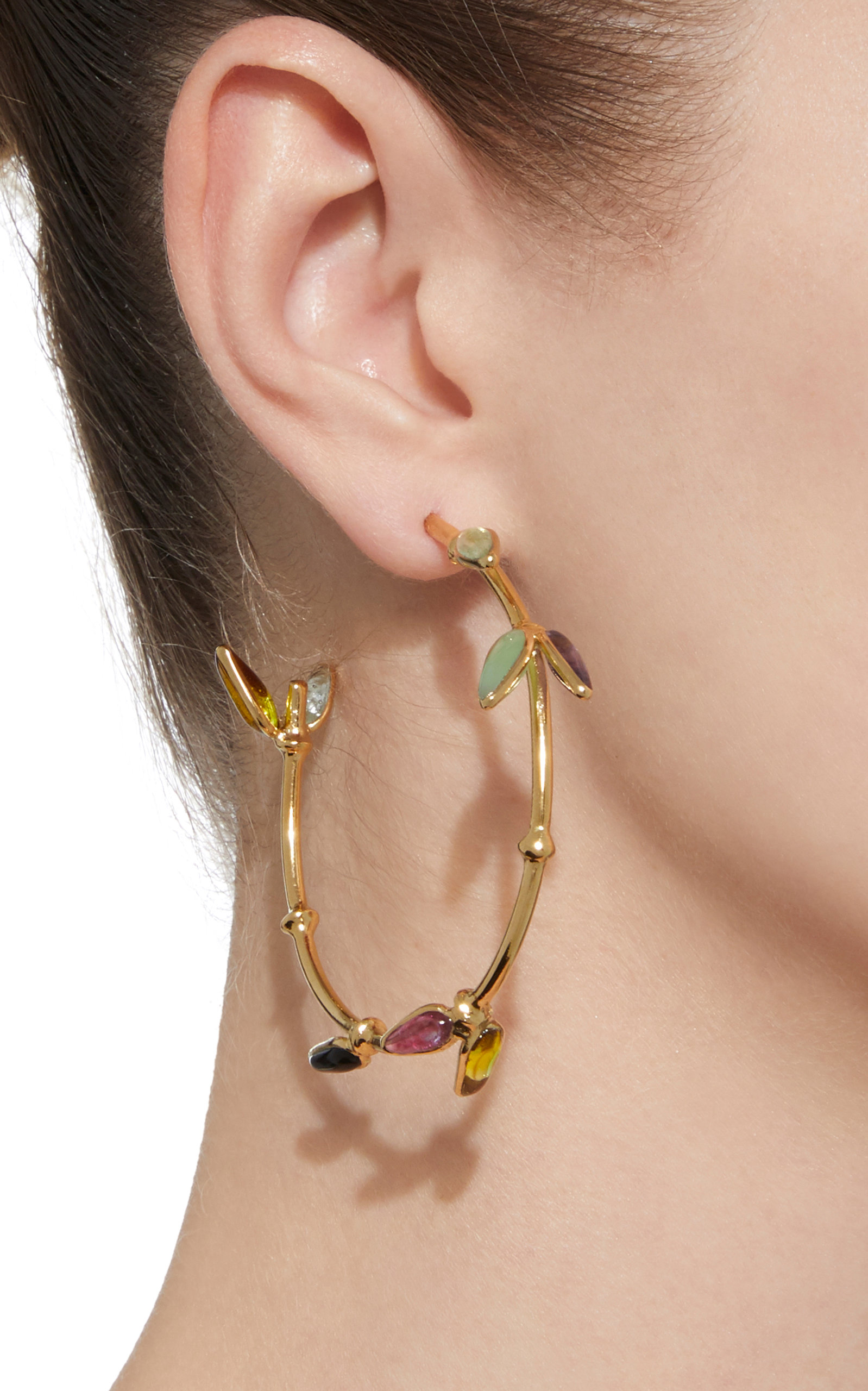 Bamboo Creole 24K Gold-Plated Brass and Poured Glass Pierced Earrings Gripoix qATX9wWt