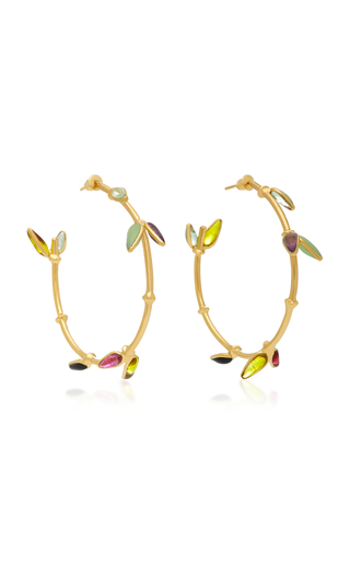 Bamboo Adjustable 24K Gold-Plated Brass and Poured Glass Bangle Bracelet Gripoix Zpnp3PiIOI
