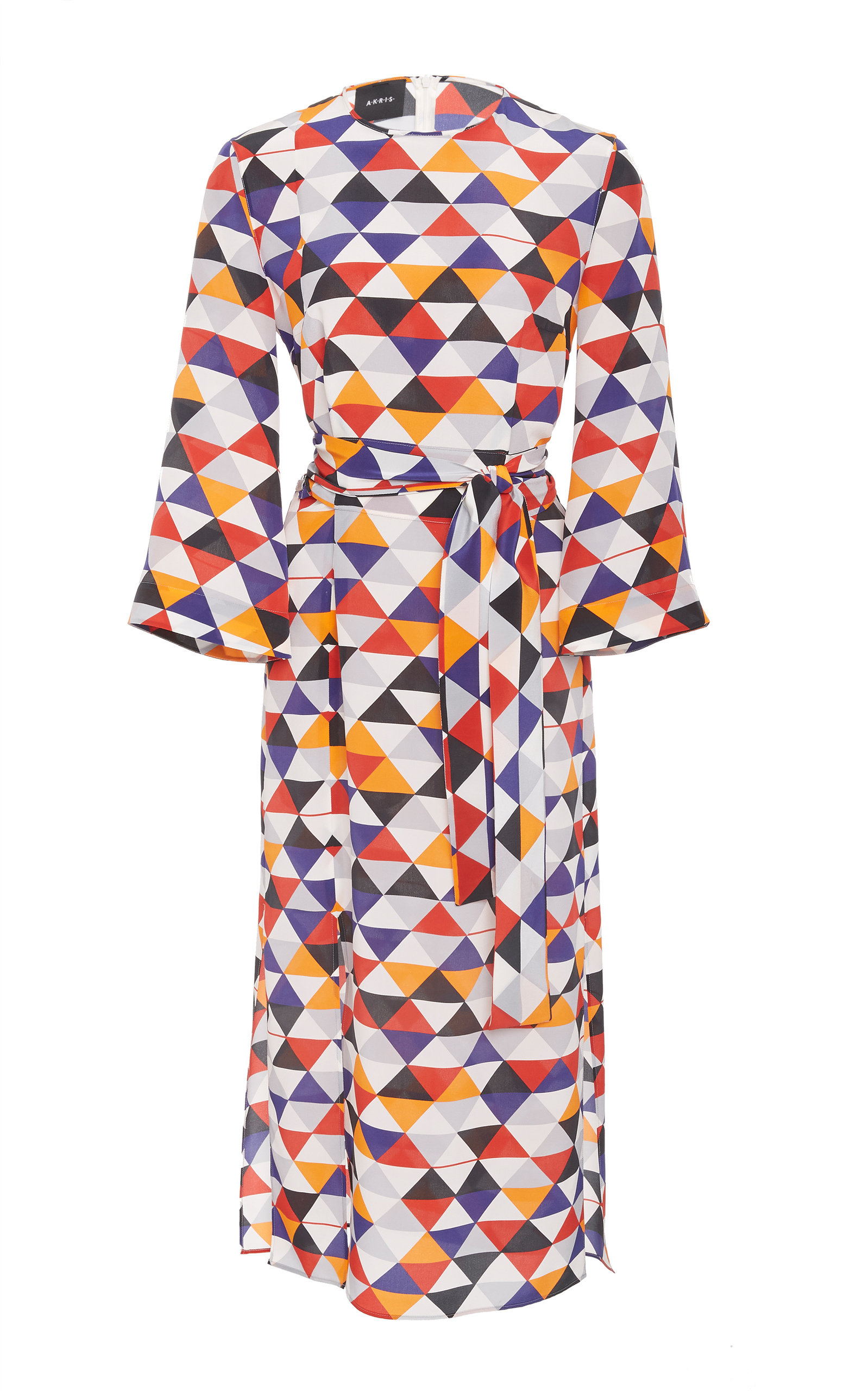 Elbow-Sleeve Diamond-Print Silk Crepe Midi Dress With Tie-Waist Detail, Multi