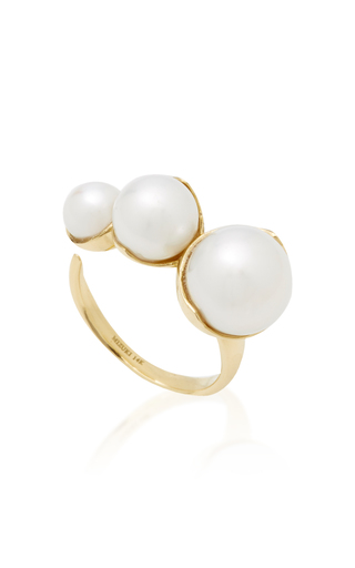 Mizuki Fluid Double Pearl Open Ring in 14K Yellow Gold kEIzdceJPB