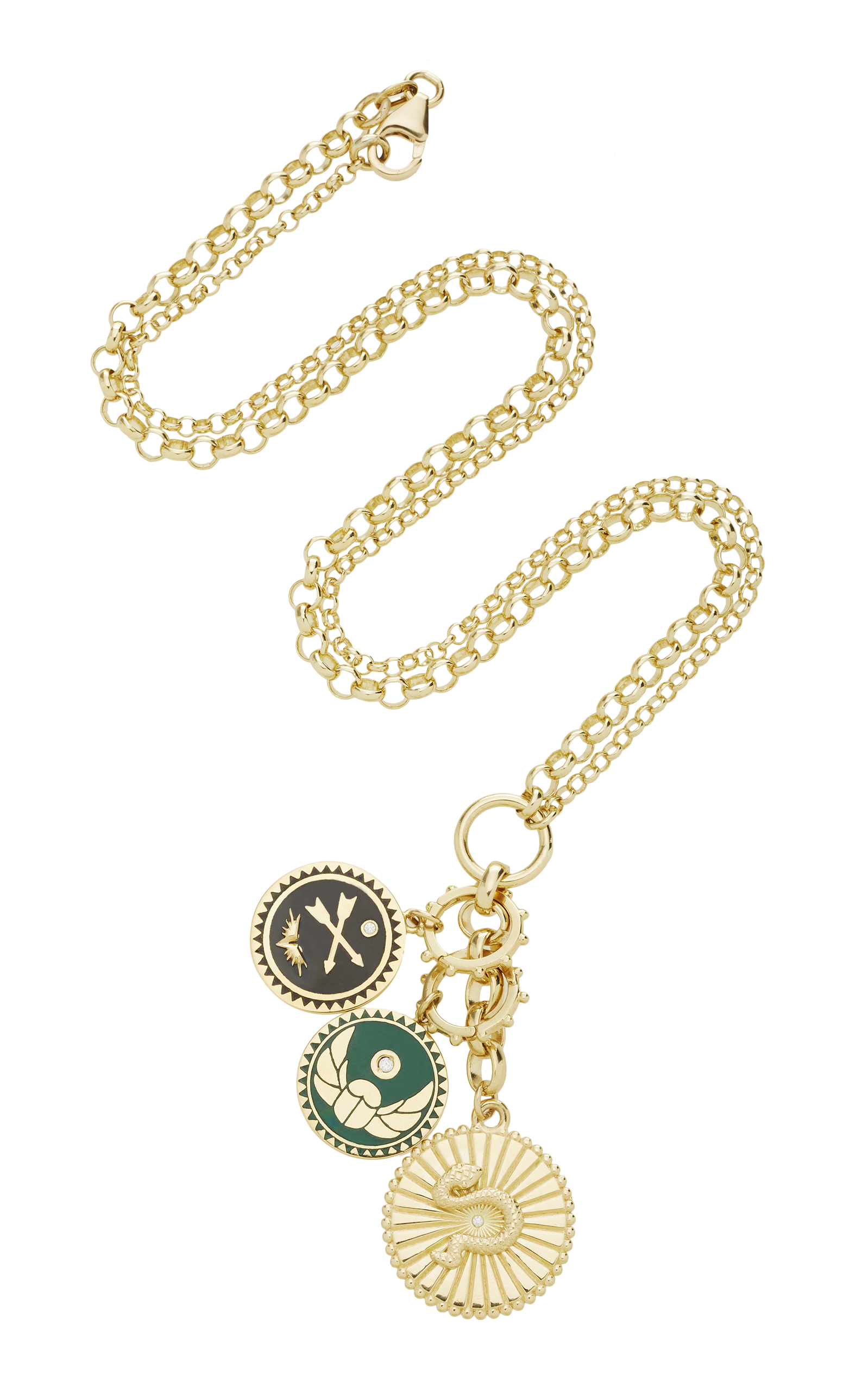 """Foundrae Wholeness Medallion On 20"""" Medium Mixed Belcher Chain With Petite Cross Arrows And Protecton Medalli"""