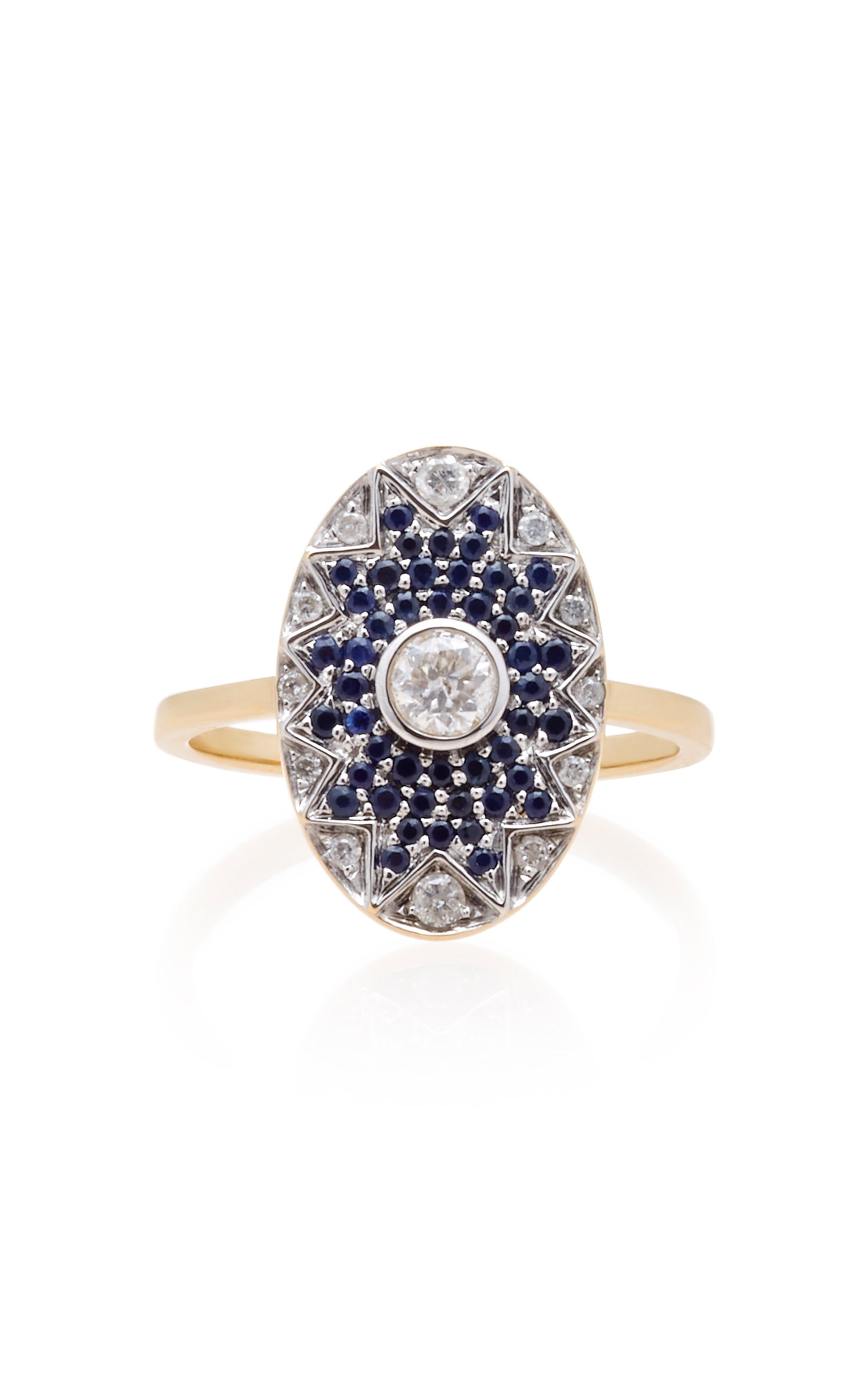 Yvonne Léon NAPOLEON STAR 18K GOLD, DIAMOND AND TSAVORITE RING SIZE: 7