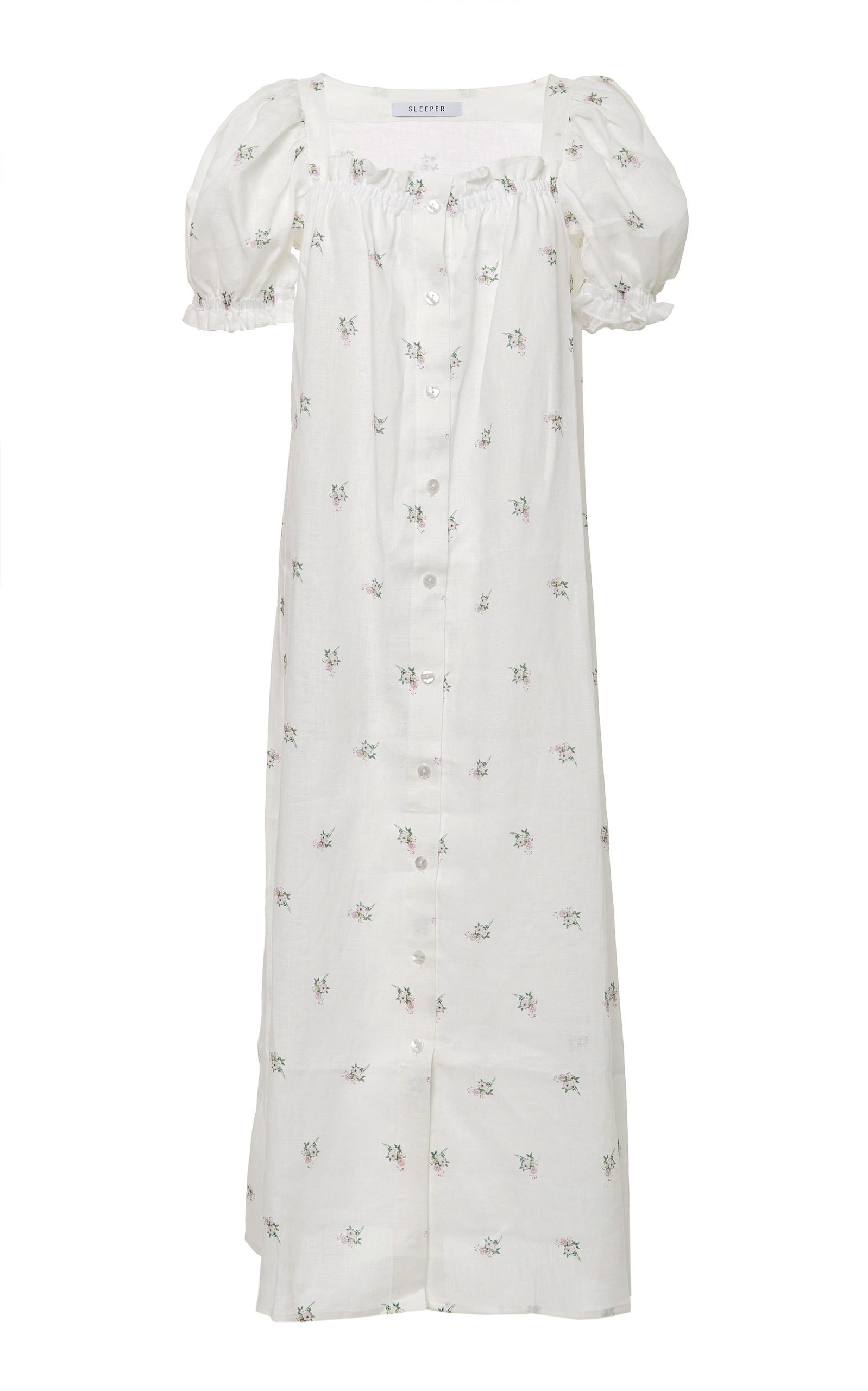 633291108 Brigitte Linen Flower Printed Long Dress by Sleeper