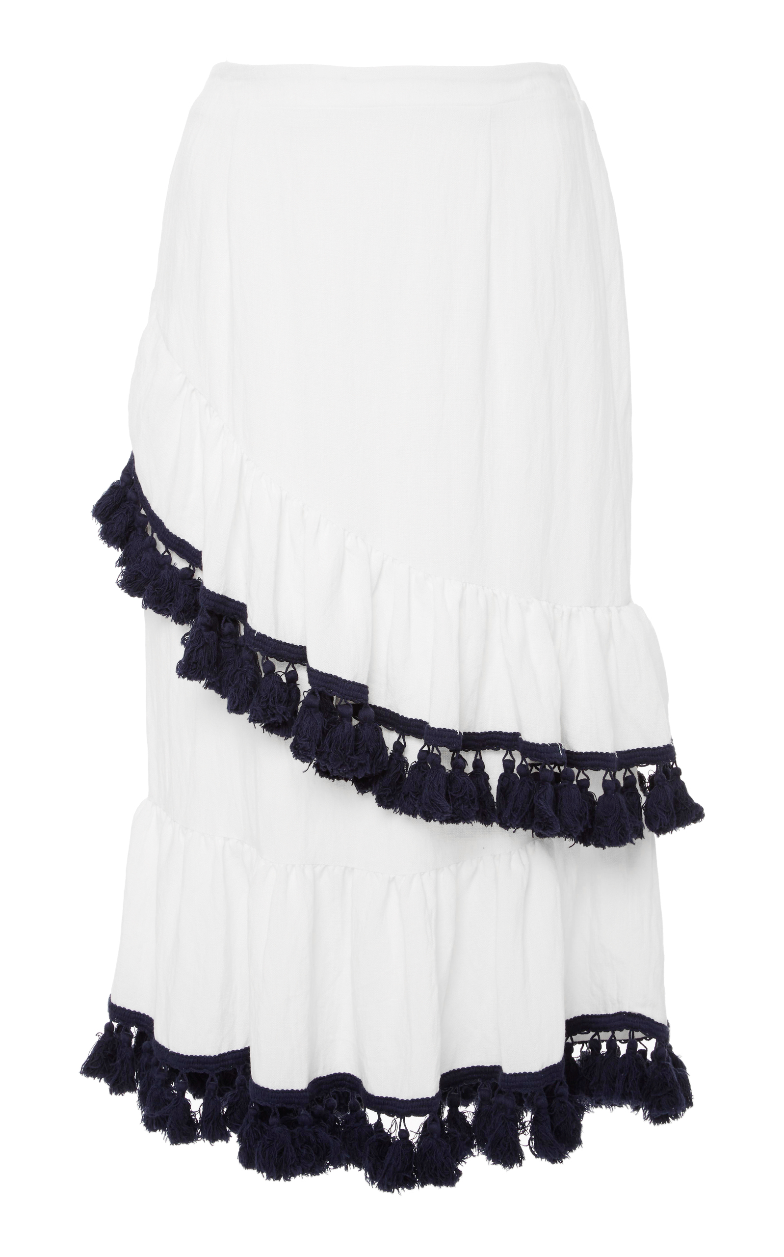 SUBOO Playa Frill Cotton-Blend Skirt in White