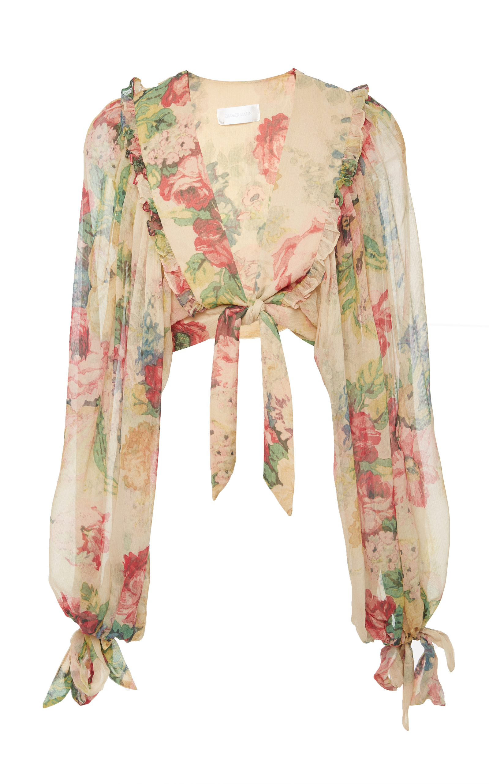 Melody Cropped Tie-Front Floral-Print Silk-Crepon Top