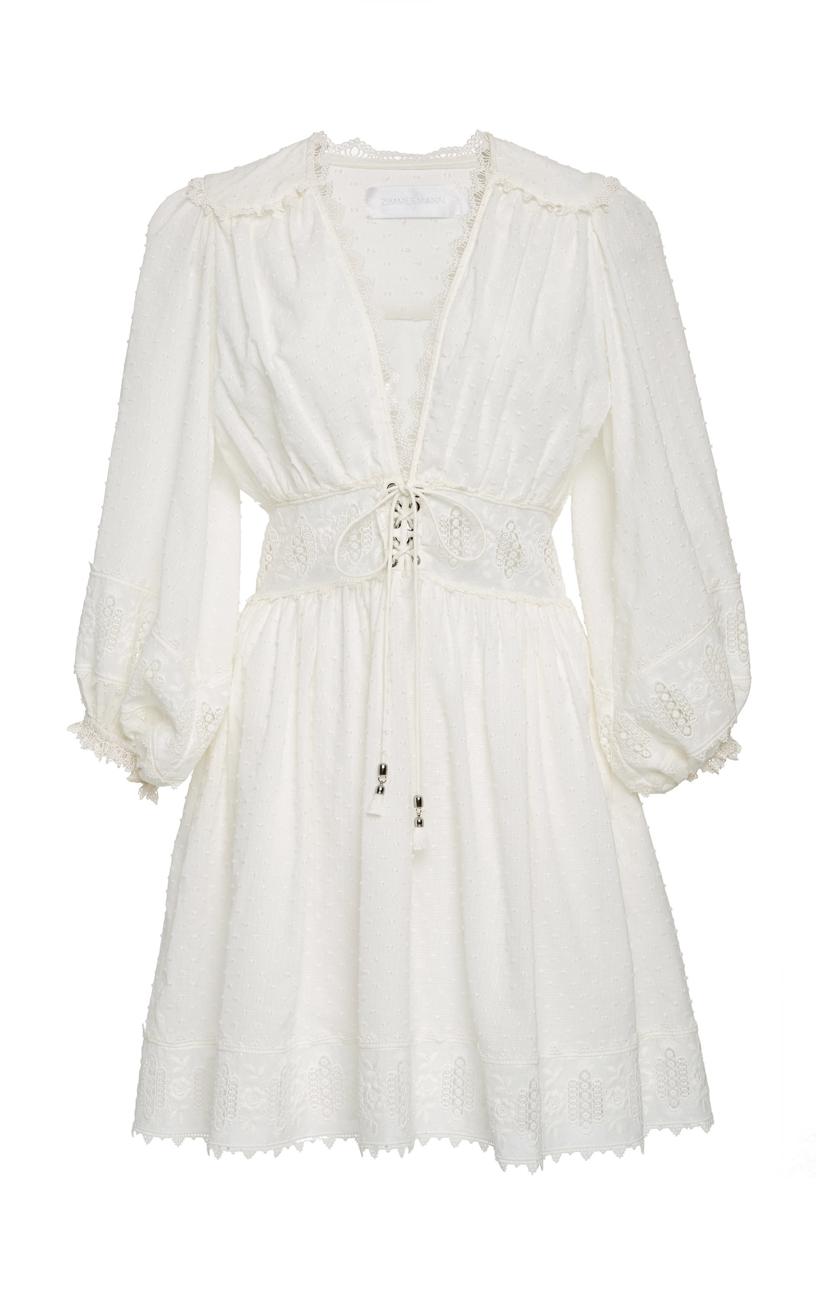 Iris Corset Embroidered Cotton Dobby Dress, White