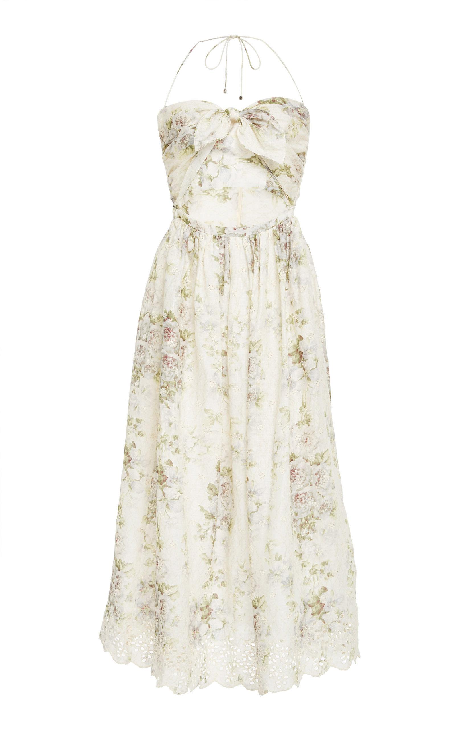 Iris Cutout Floral-Print Broderie Anglaise Linen Dress