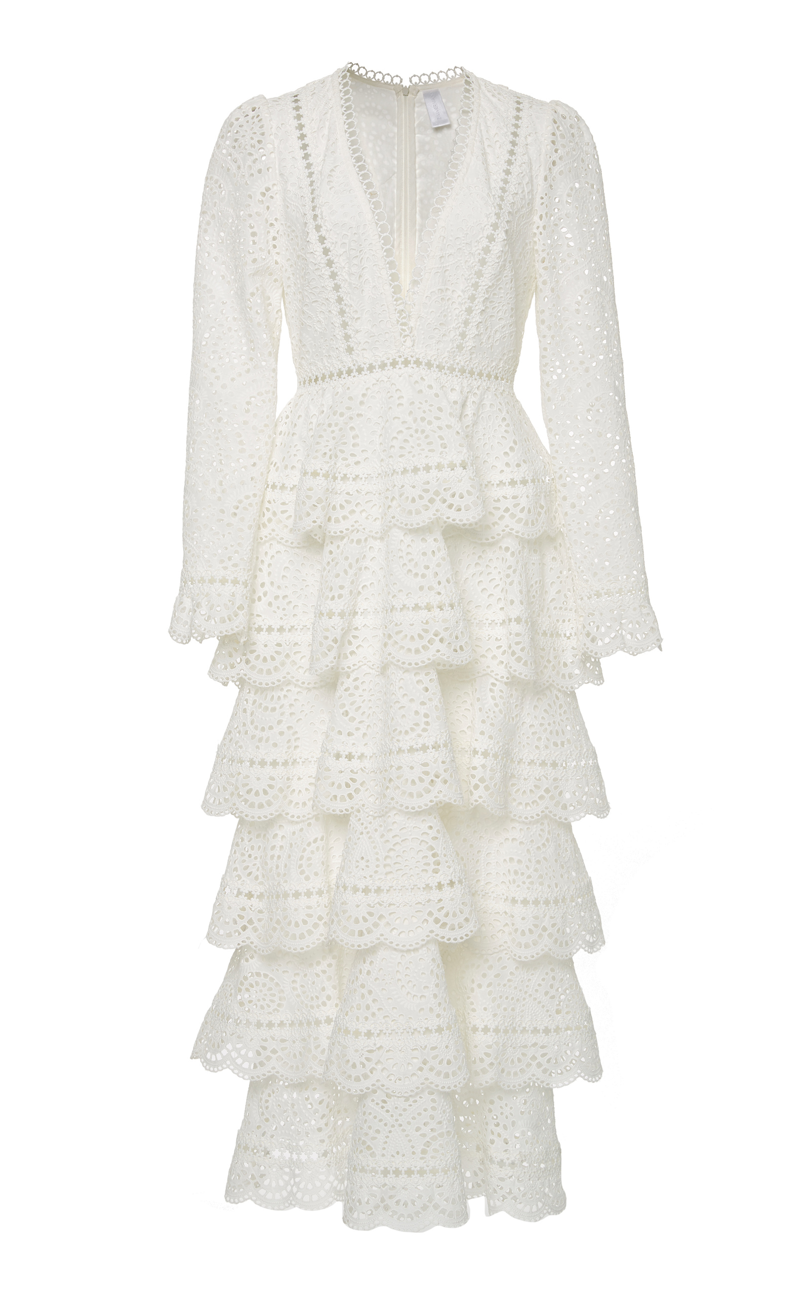 Bayou Tiered Broderie Anglaise Cotton Maxi Dress, White