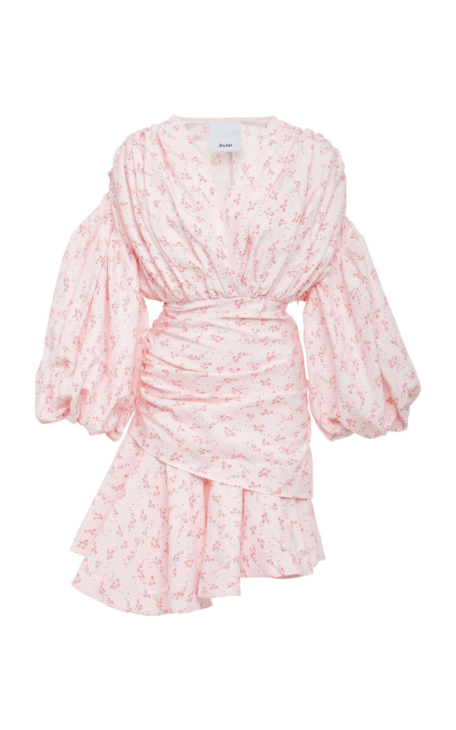 ACLER Dorset Draped Floral-Print Cotton And Silk-Blend Mini Dress, Pink