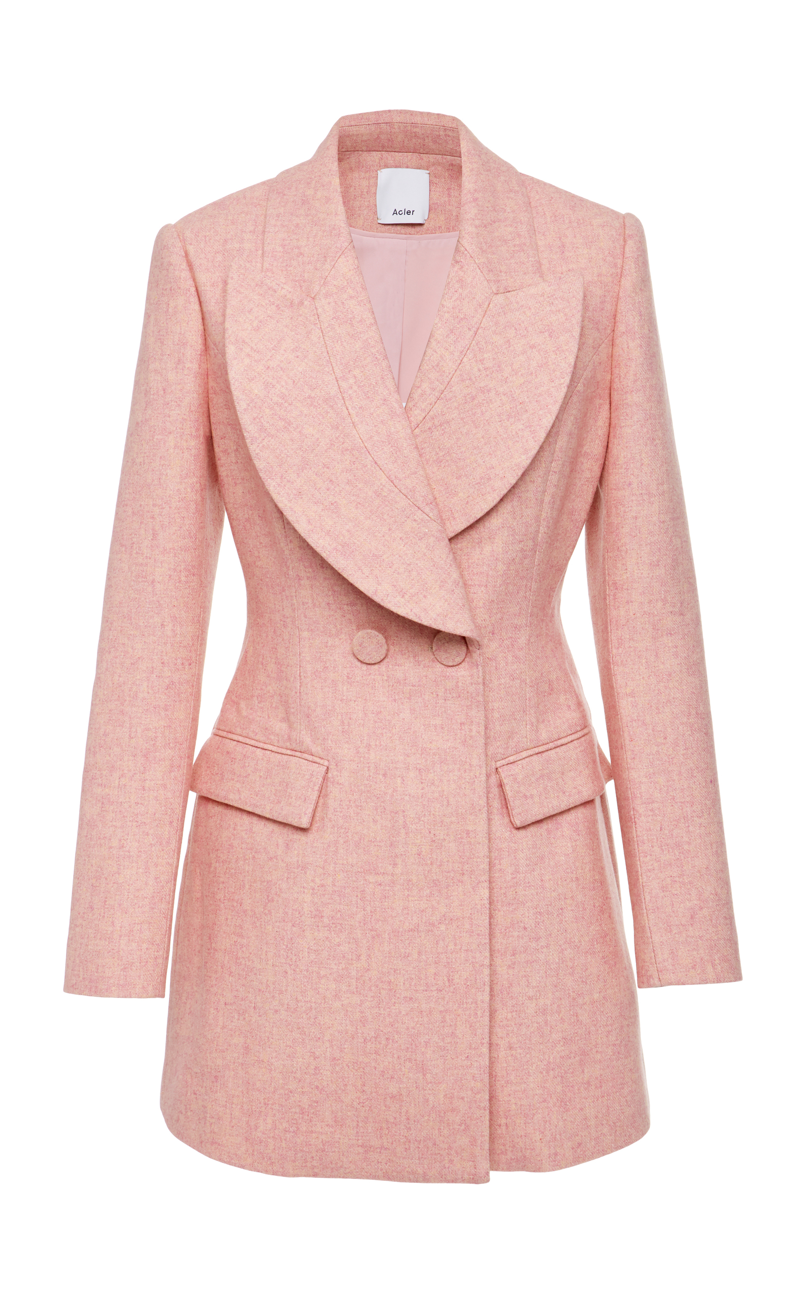 ACLER CUNNINGHAM DOUBLE BREASTED WOOL BLAZER