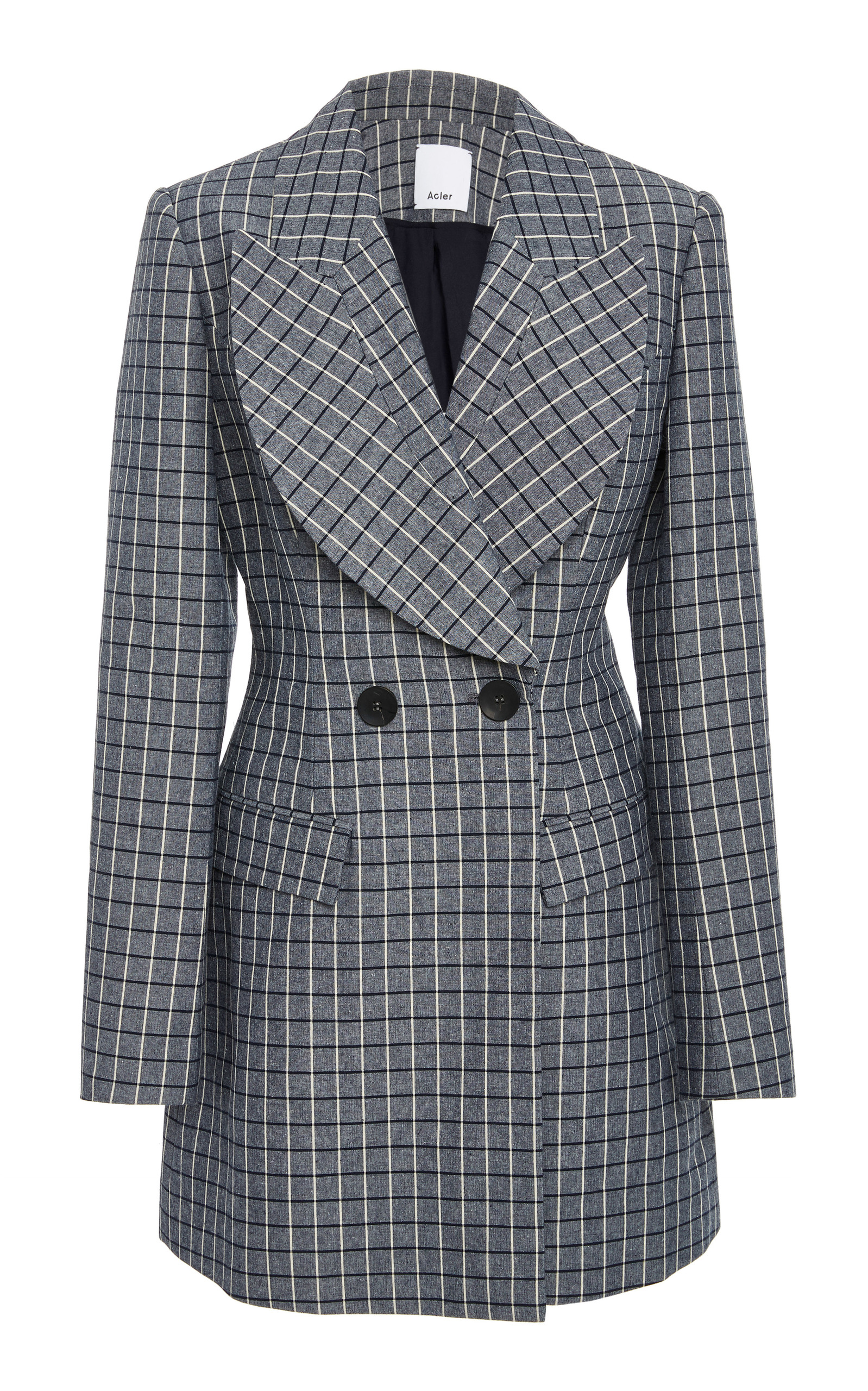 ACLER CUNNINGHAM PLAID DOUBLE-BREASTED BLAZER