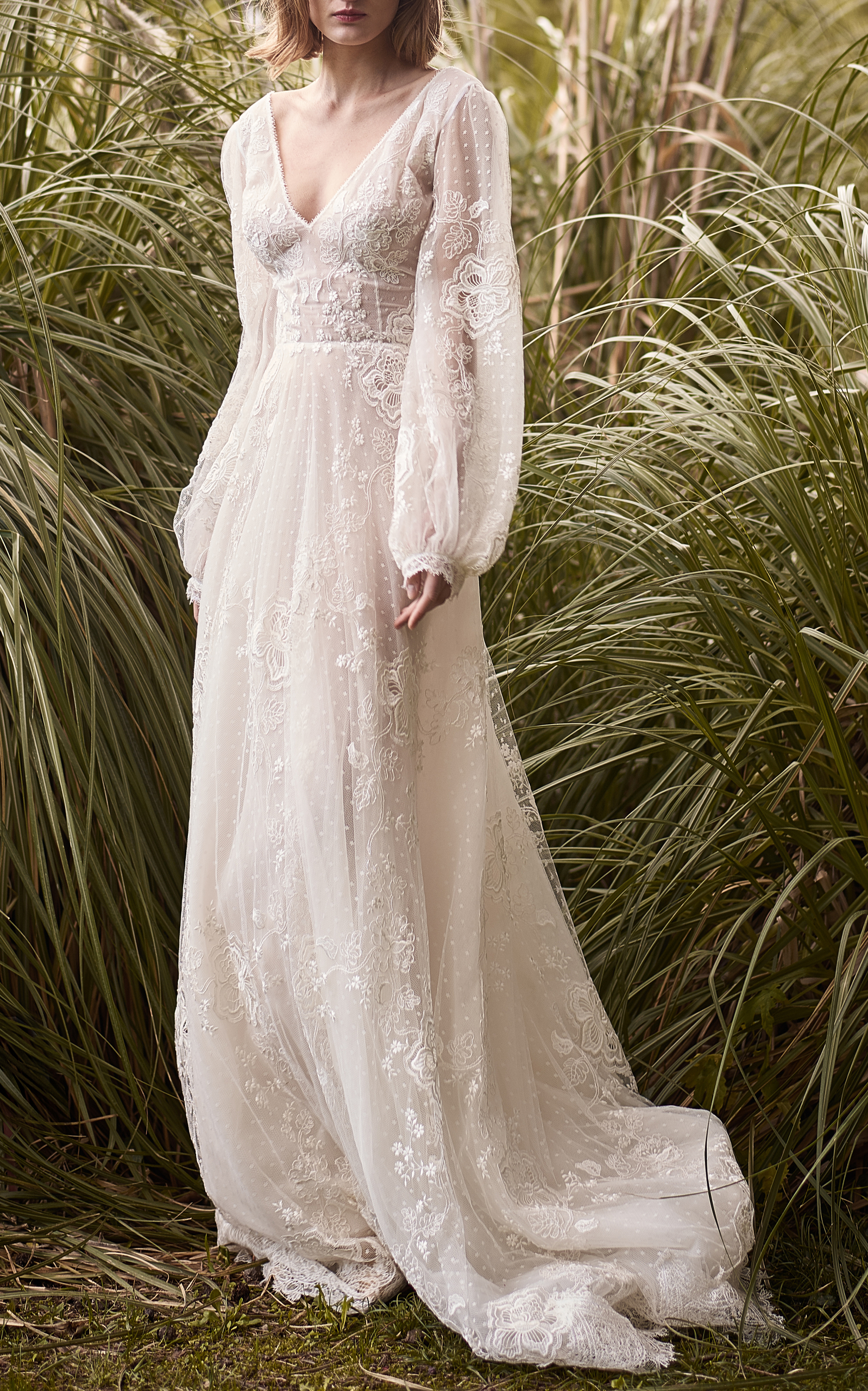 Embroidered Lace Ethereal Gown by Costarellos Bridal | Moda Operandi