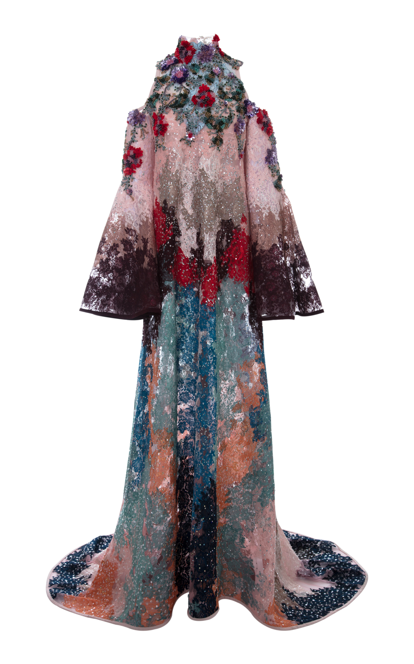 Hussein Bazaza BEADED LACE BELL SLEEVE DRESS
