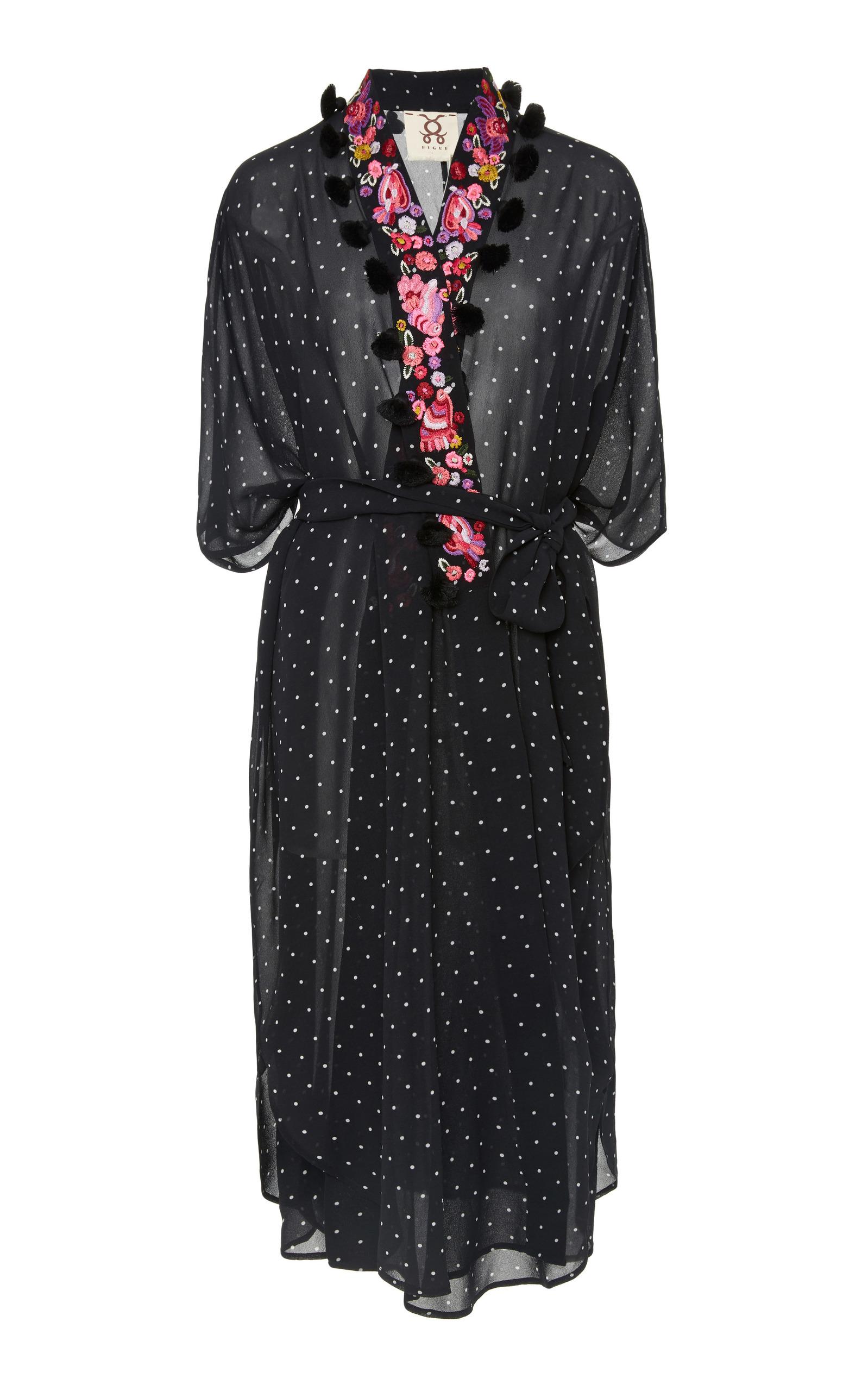 FIGUE Amira Aztec-Dot Kaftan-Style Jacket in Black