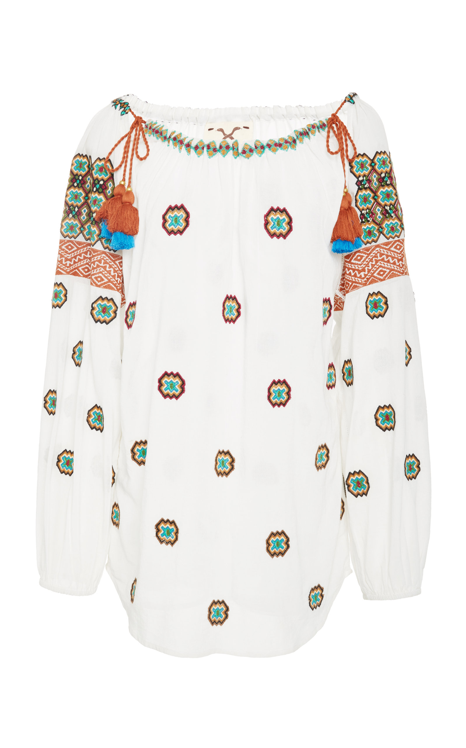 Boat-Neck Embroidered Cotton Voile Peasant Top W/ Tassel Ties, White