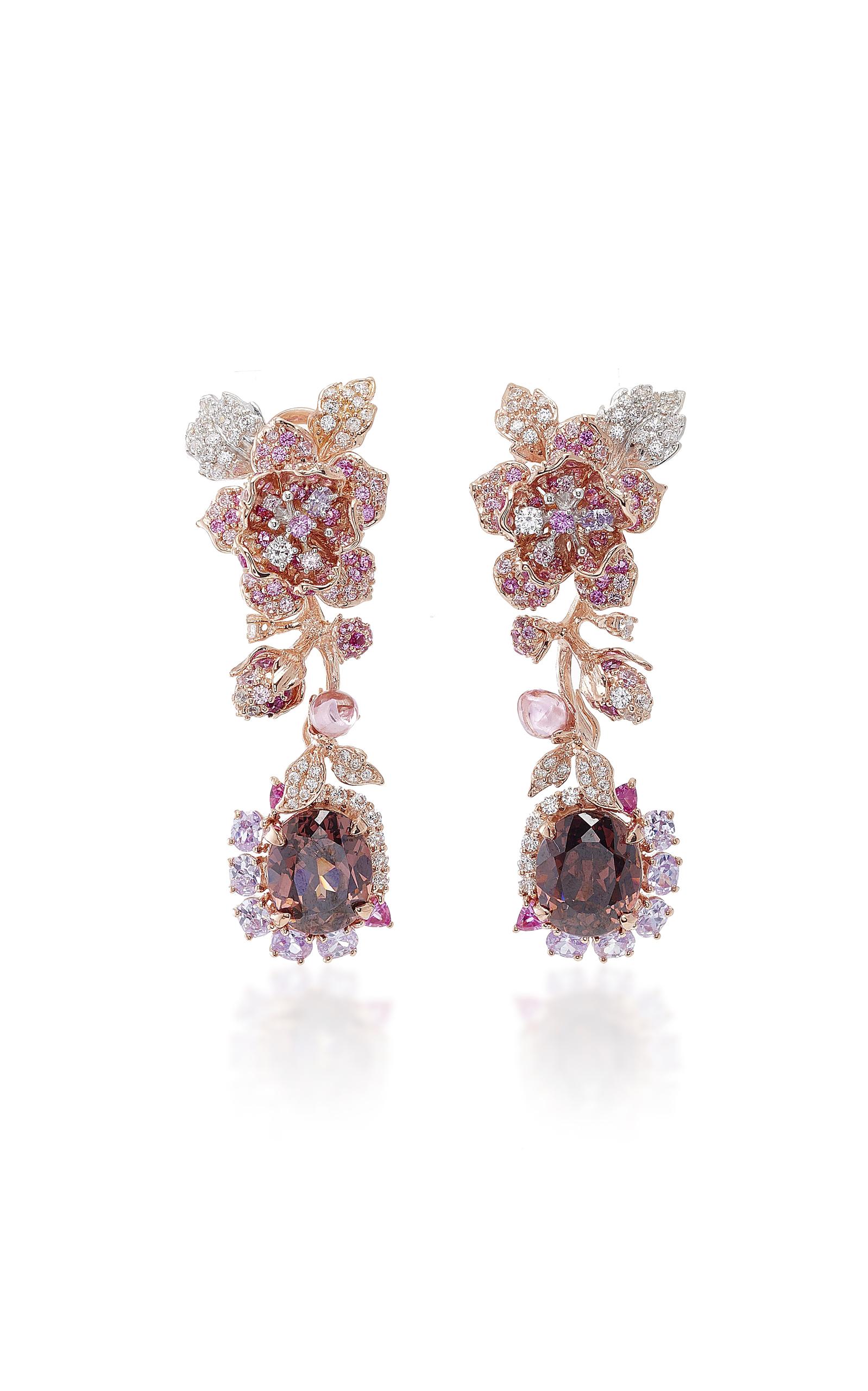 ANABELA CHAN TOURMALINE ROSE EARRINGS