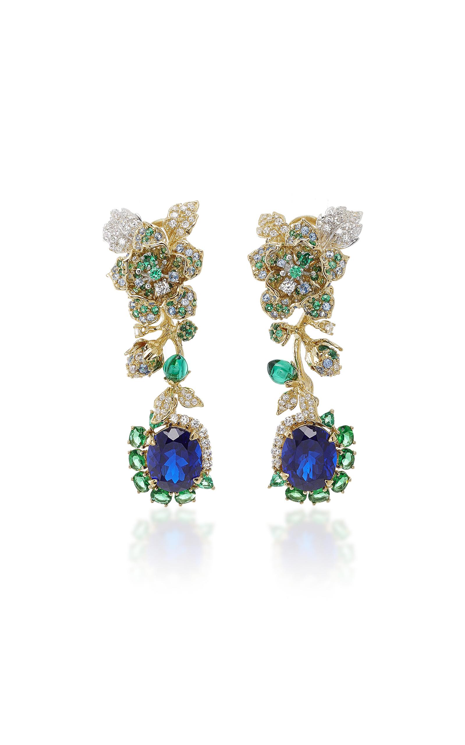 Anabela Chan Jewelry AQUAMARINE ROSE EARRINGS