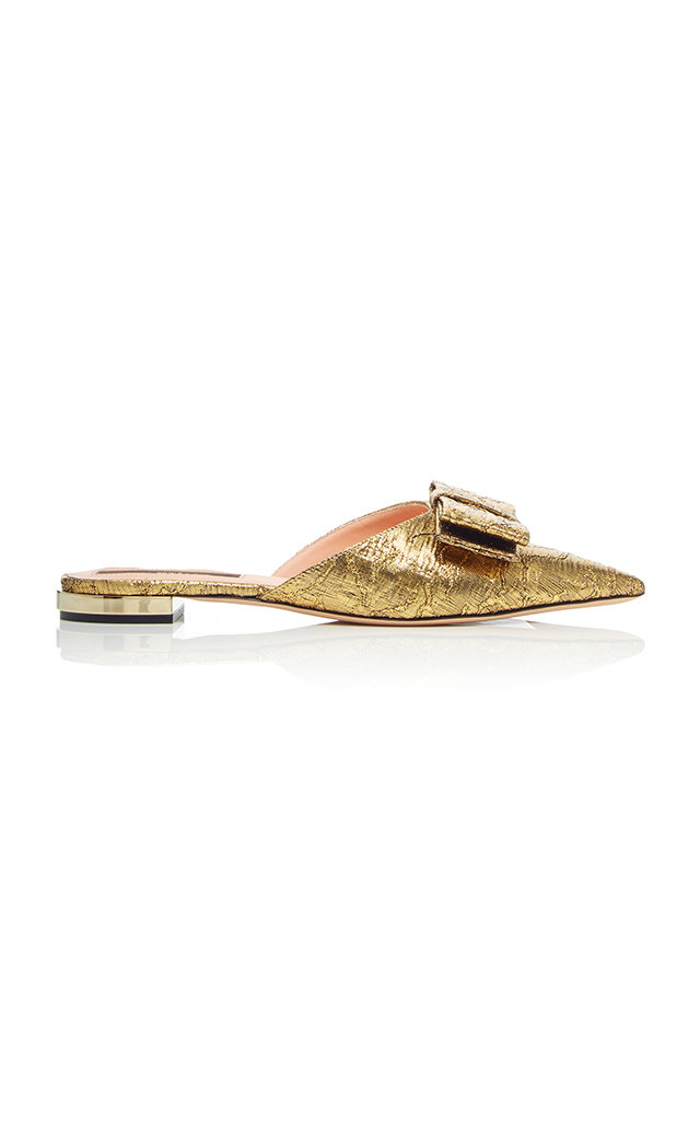 Floral-Brocade Backless Loafers in Metallic