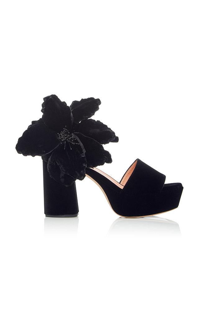ROCHAS 90Mm Flower Embellished Velvet Sandals in Black